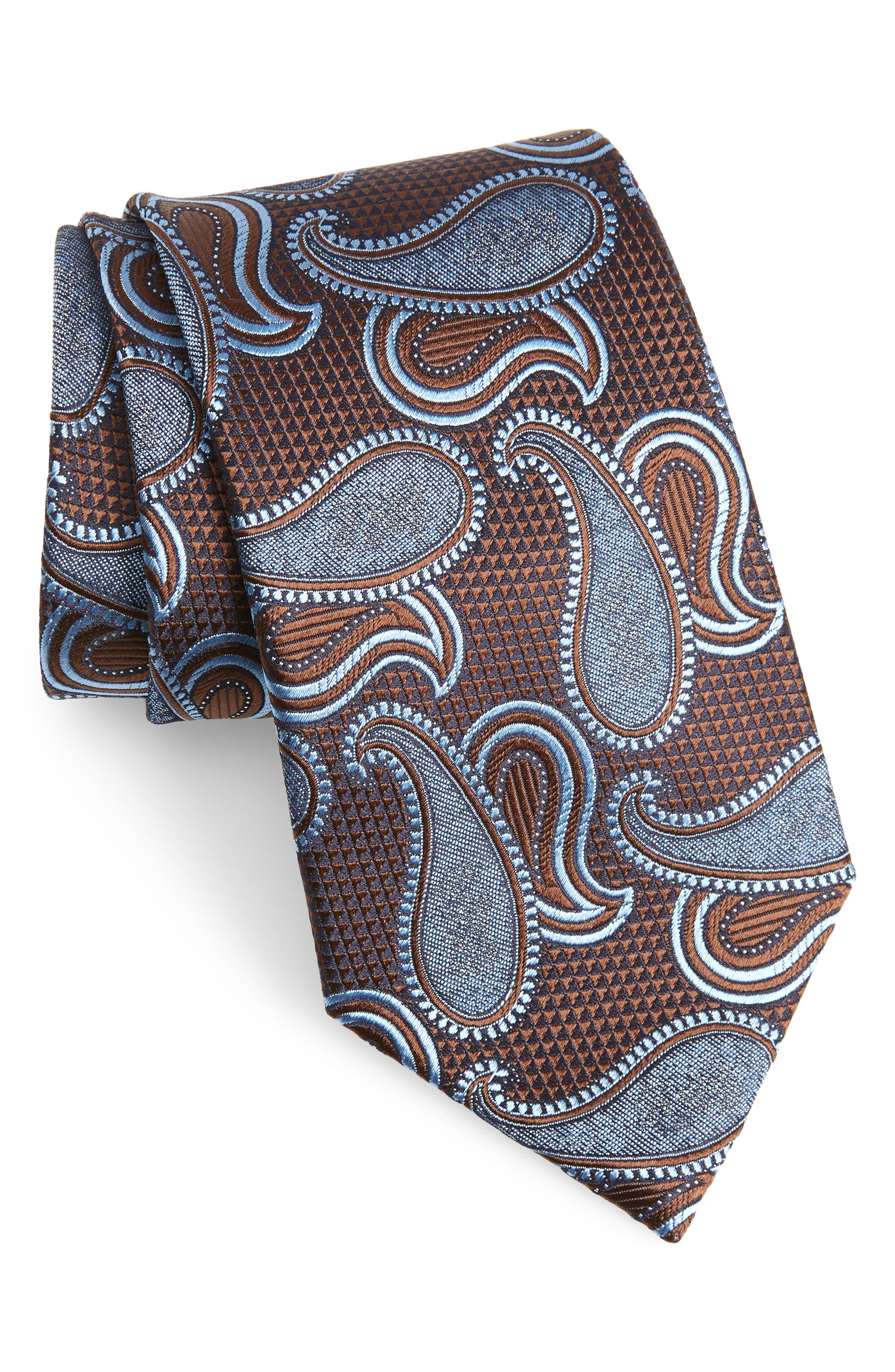 Paisley Silk Tie,                             Main thumbnail 1, color,                             BLUE