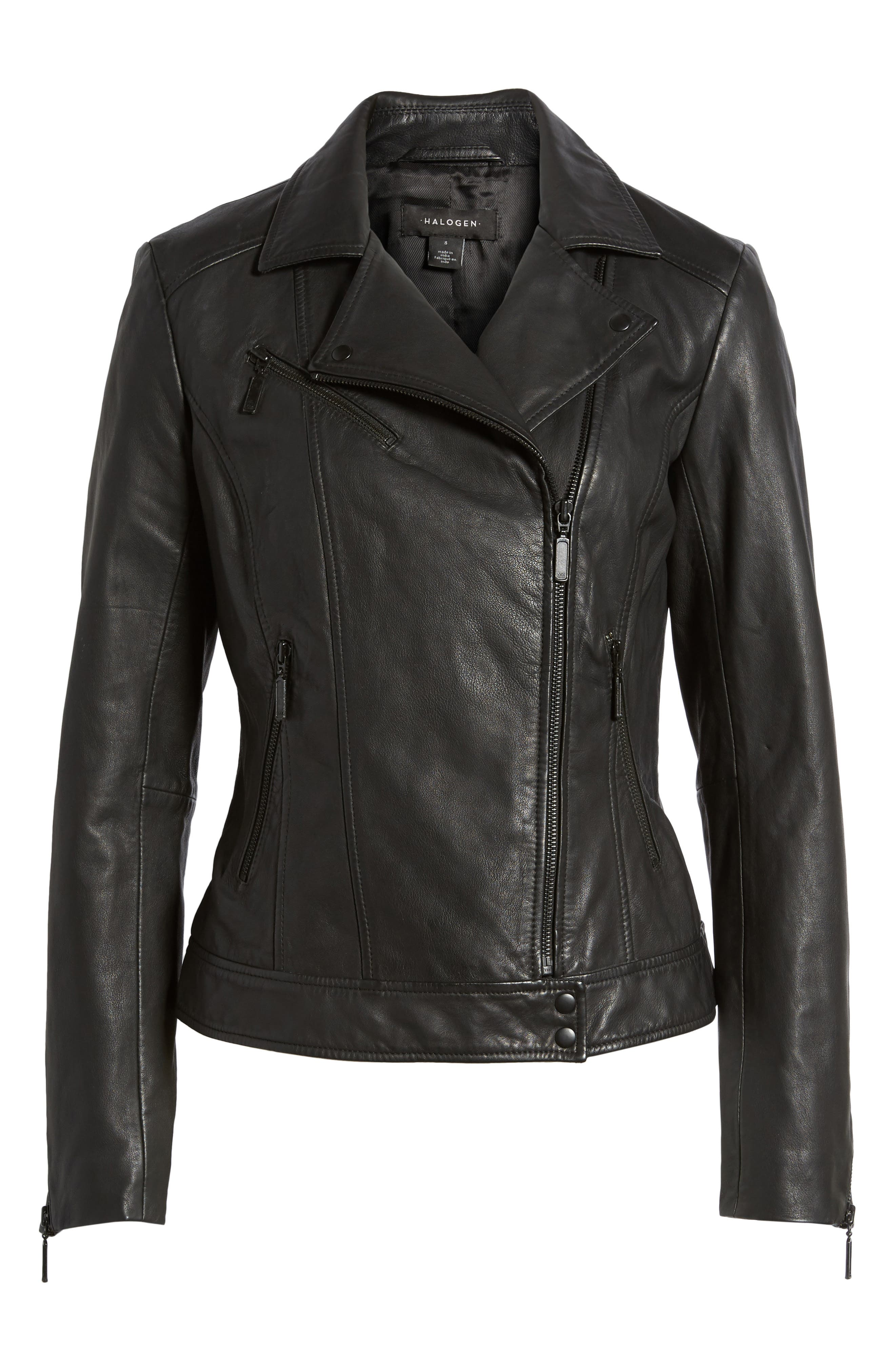 Moto Zip Leather Jacket,                             Alternate thumbnail 5, color,                             001