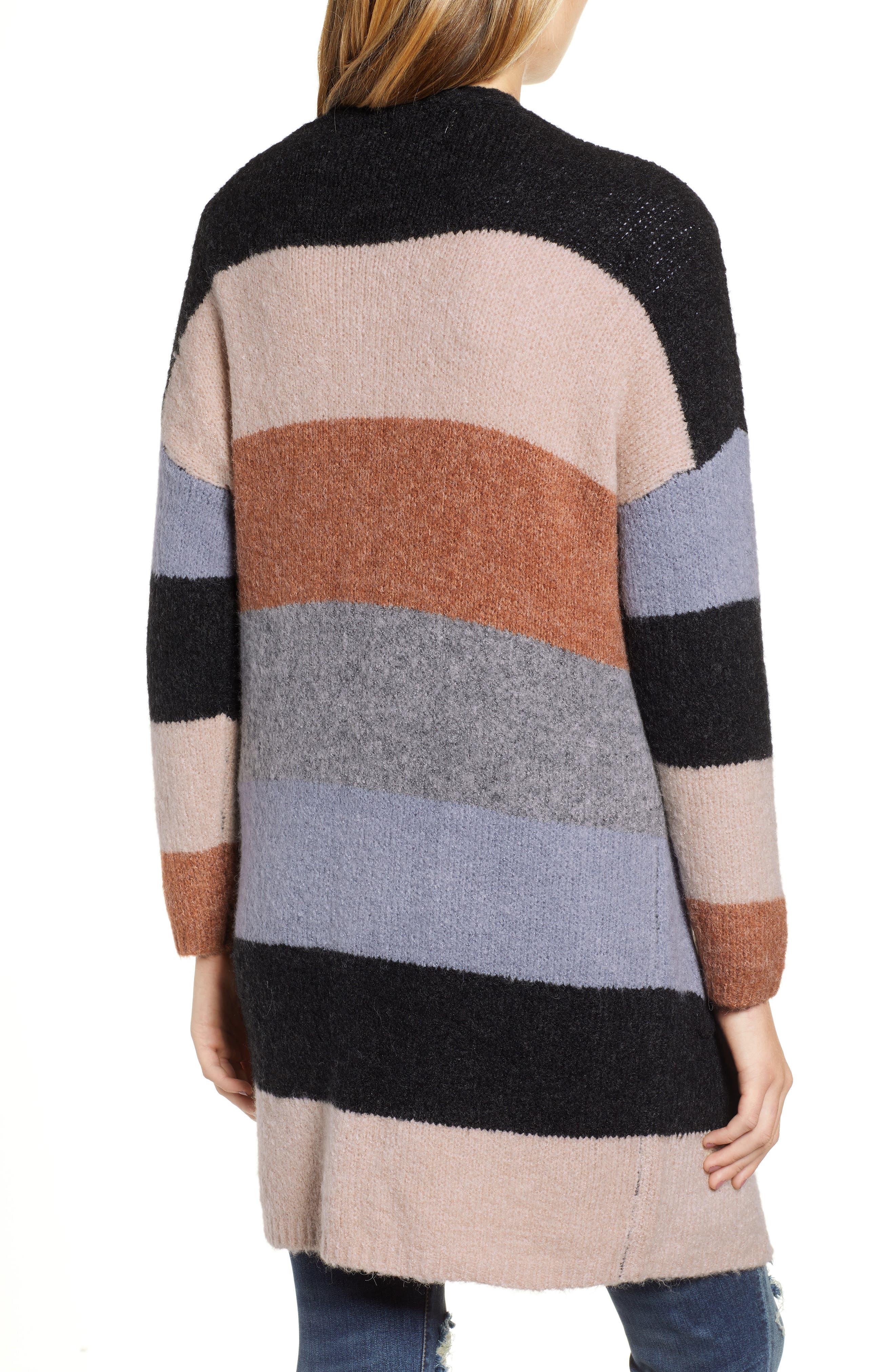Stripe Long Cardigan,                             Alternate thumbnail 2, color,                             001