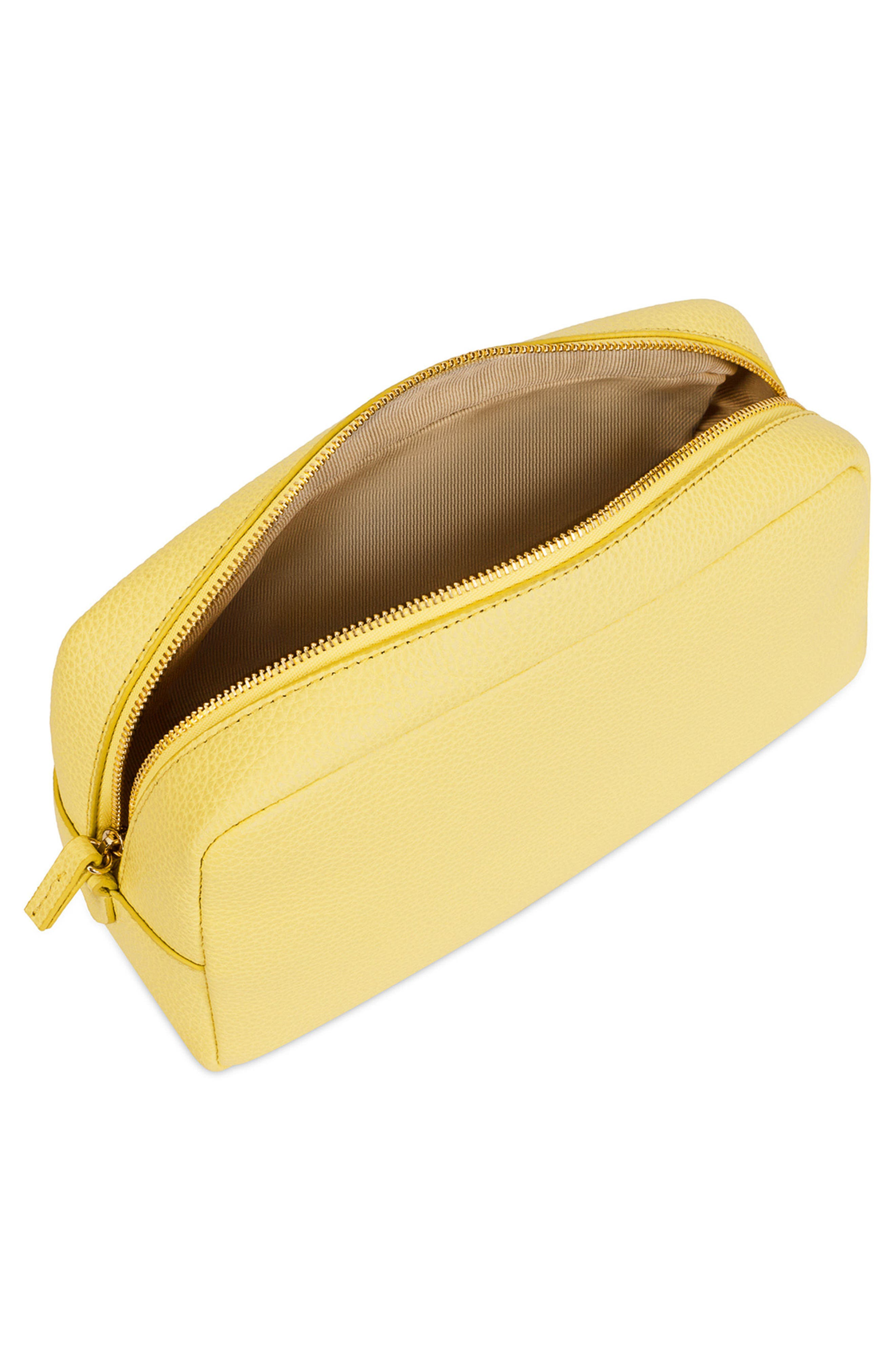 Bloom Extra Large Leather Cosmetic Bag,                             Alternate thumbnail 4, color,
