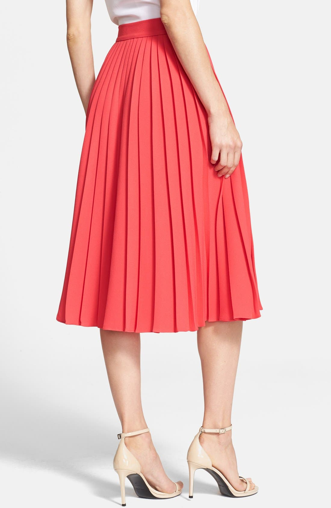 pleated crepe midi skirt,                             Alternate thumbnail 6, color,