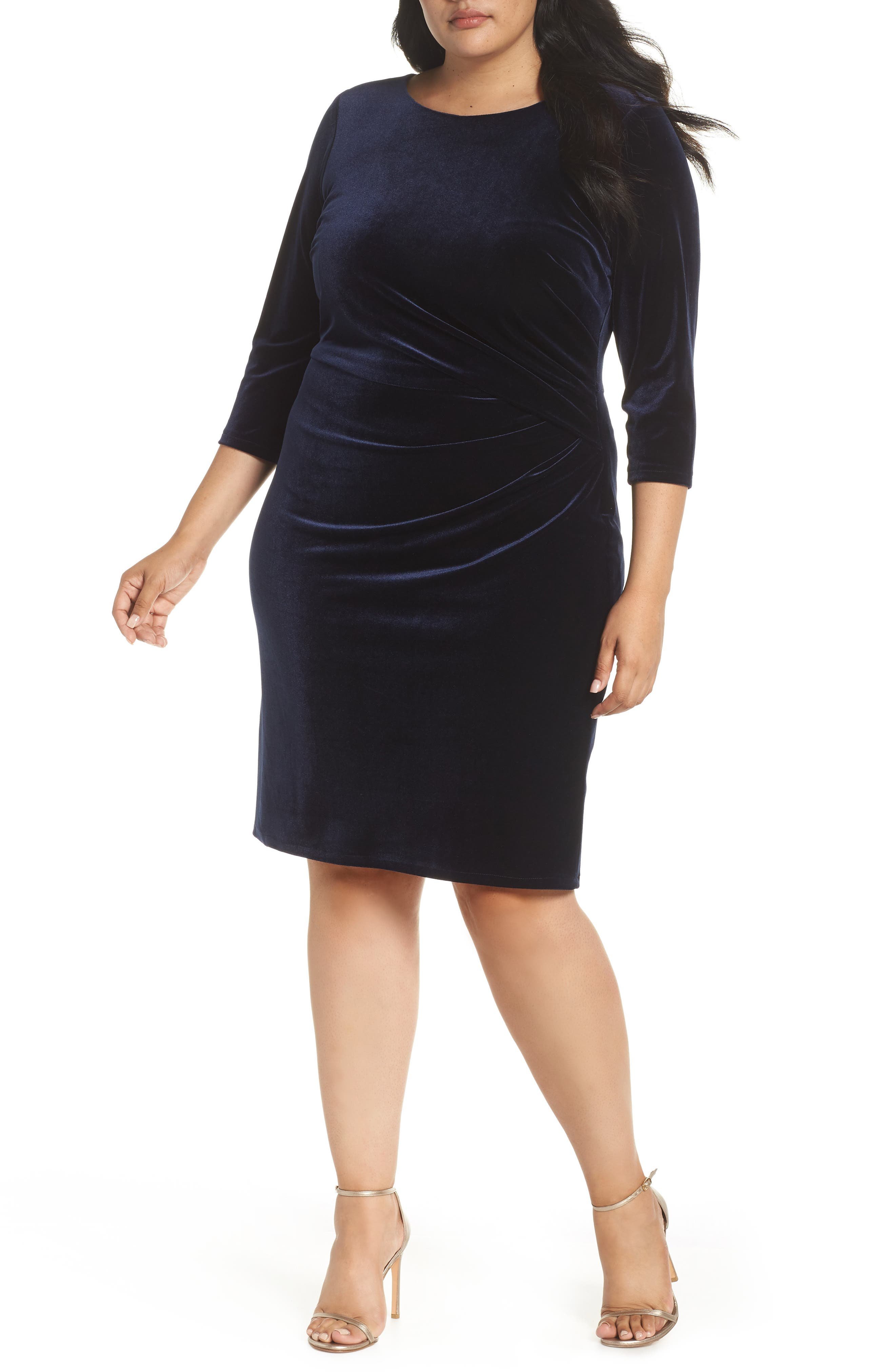 Stretch Velvet Sheath Dress,                         Main,                         color, NAVY
