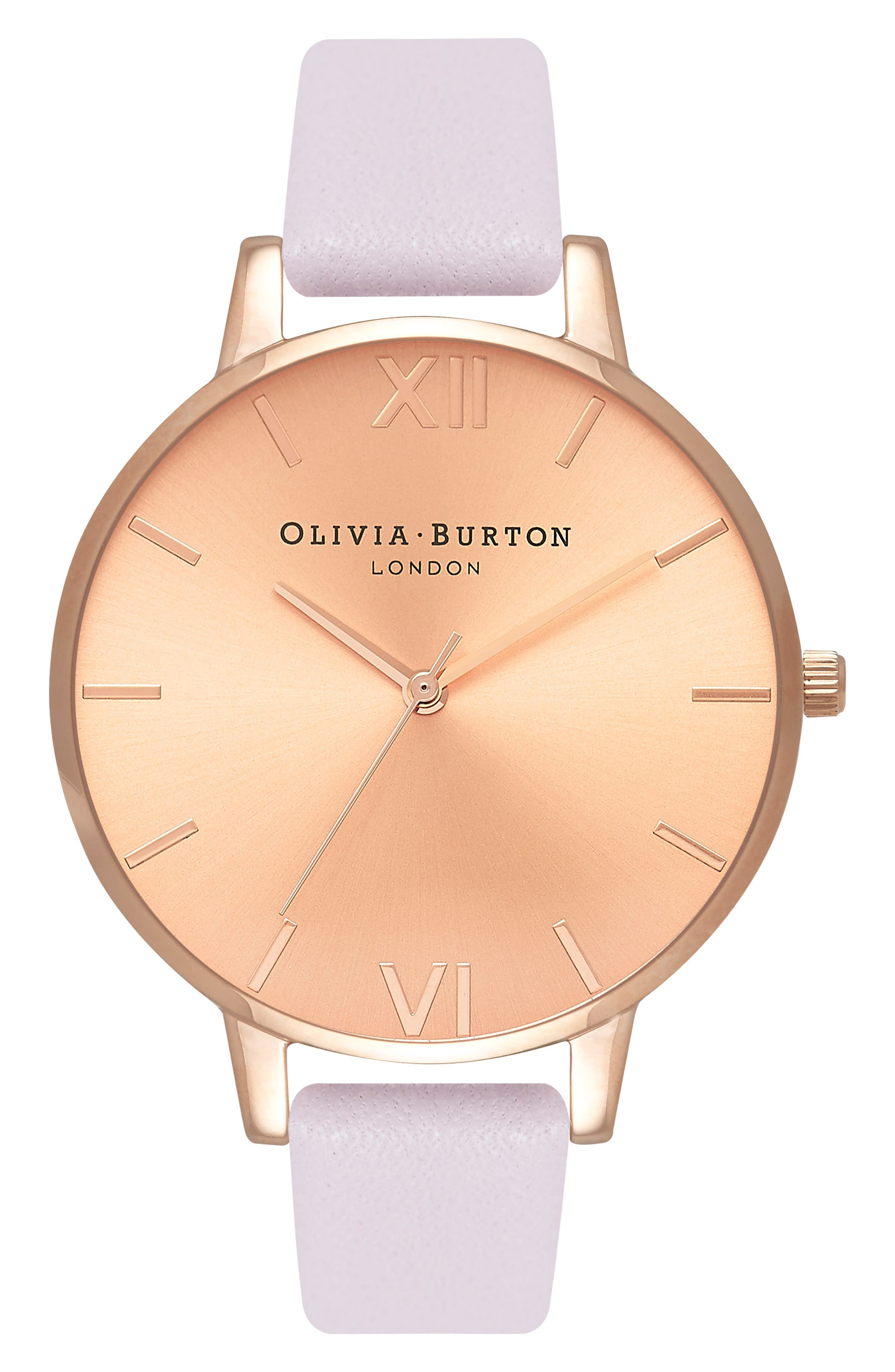 OLIVIA BURTON,                             Sunray Leather Strap Watch, 38mm,                             Main thumbnail 1, color,                             BLOSSOM/ ROSE GOLD