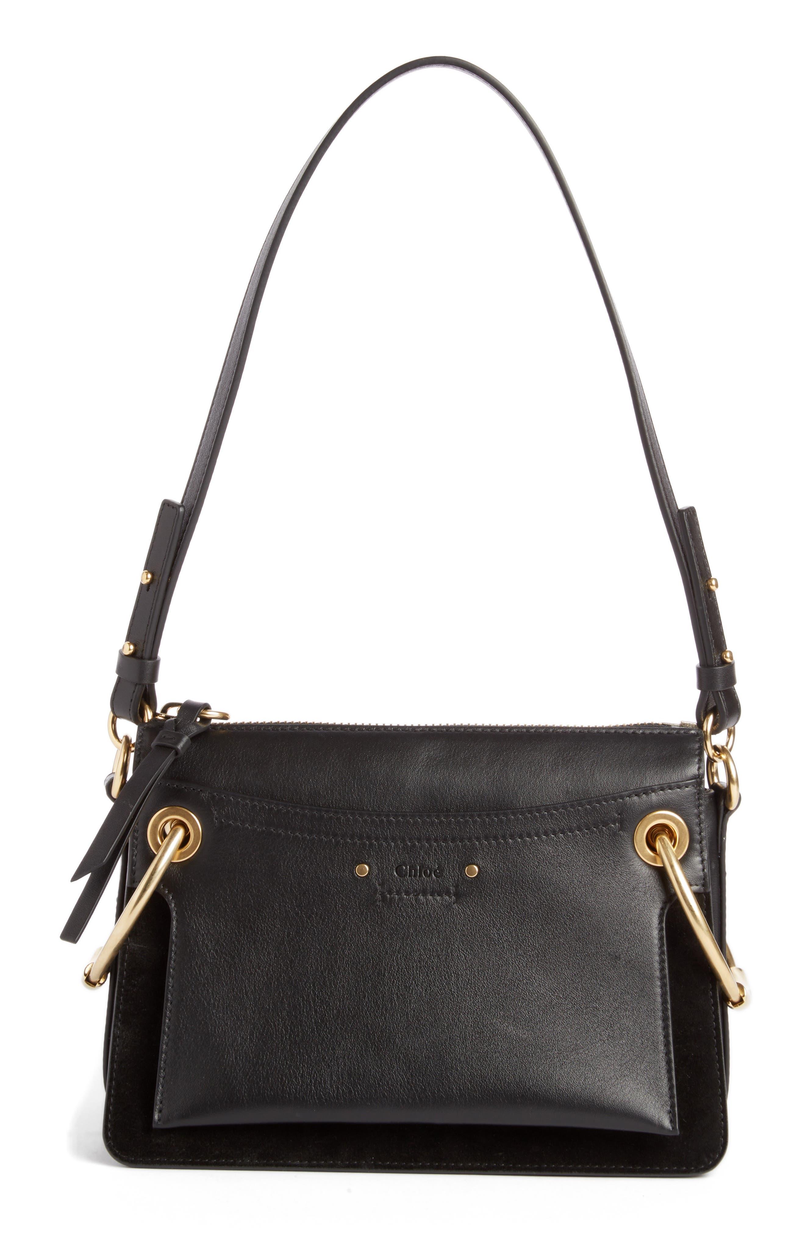 Small Roy Leather Shoulder Bag,                         Main,                         color, BLACK