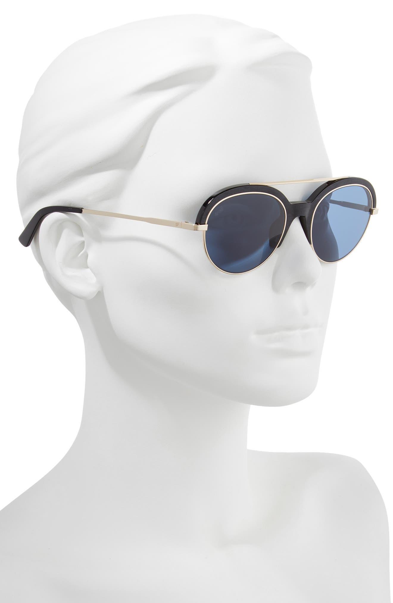 WEB,                             51mm Aviator Sunglasses,                             Alternate thumbnail 2, color,                             SHINY BLACK/ BLUE
