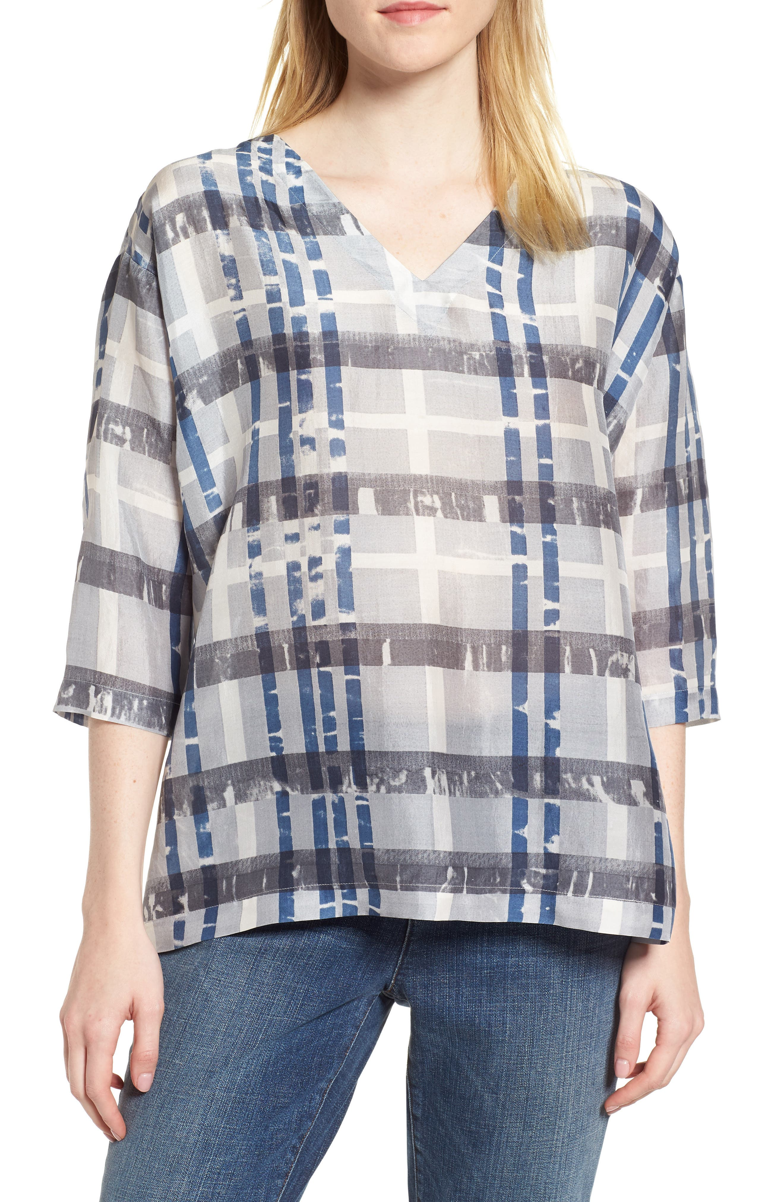 EILEEN FISHER,                             Plaid Boxy Silk Top,                             Main thumbnail 1, color,                             041
