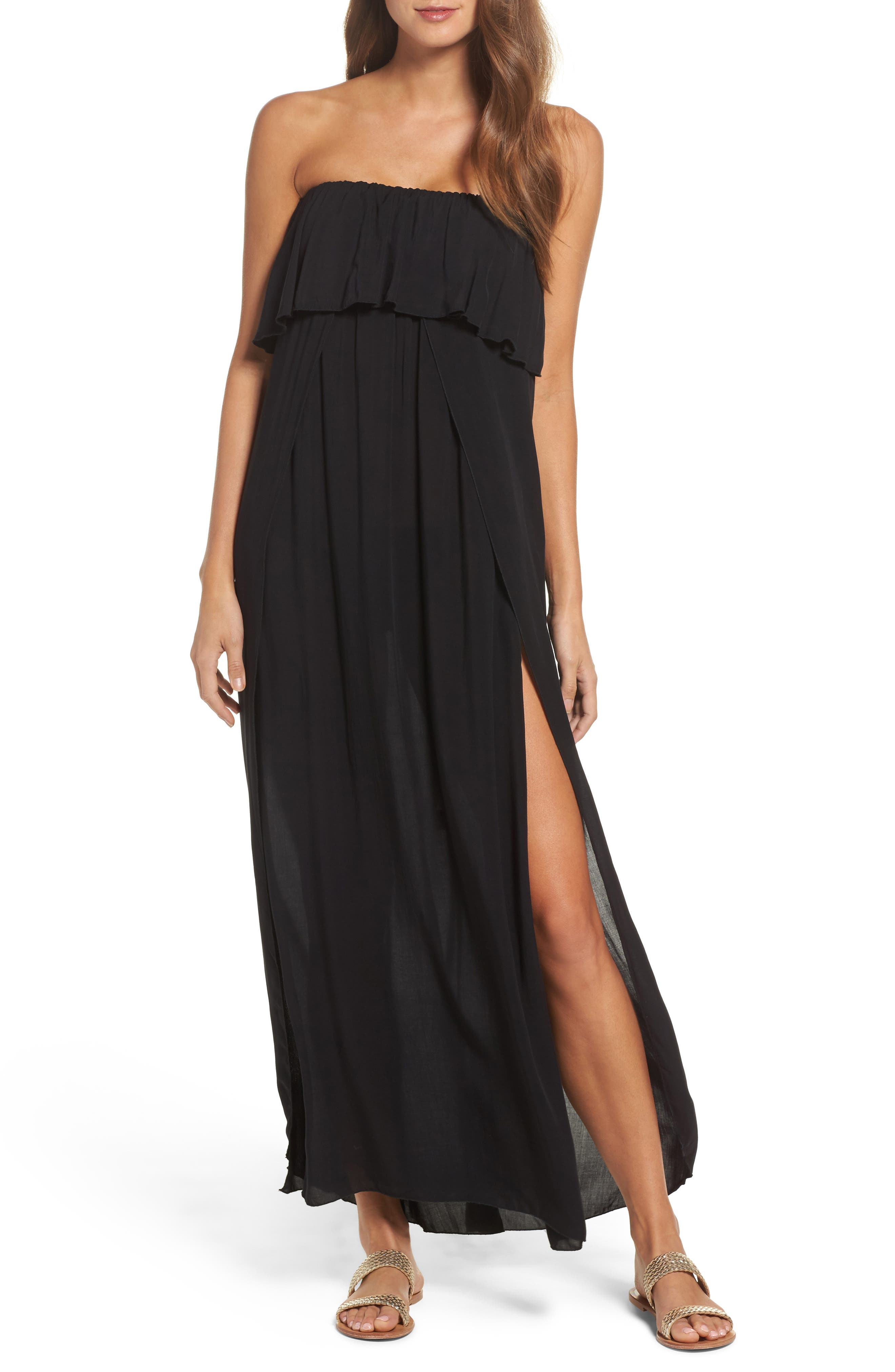 Strapless Maxi Cover-Up Dress,                             Main thumbnail 1, color,                             BLACK