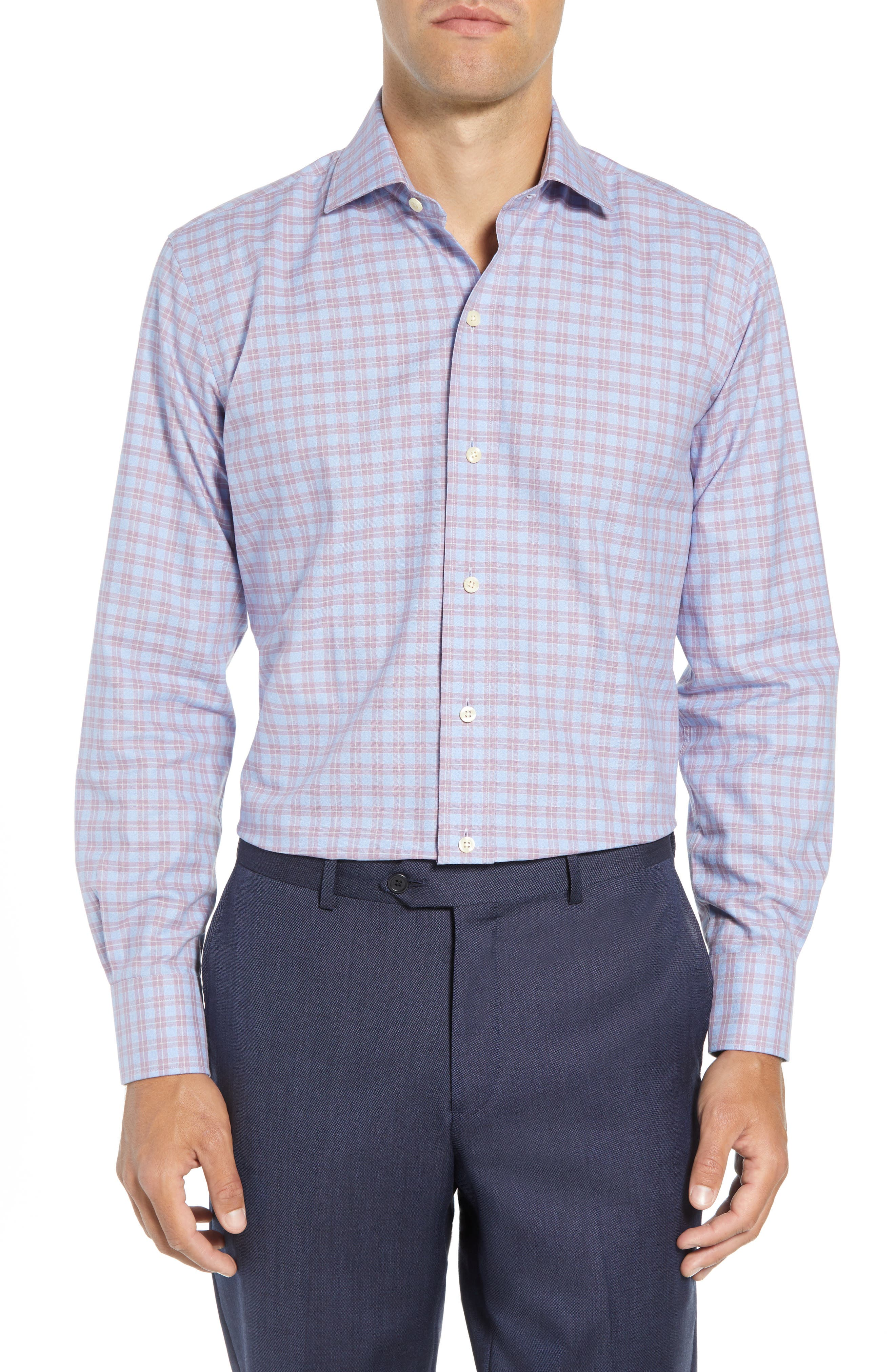 LEDBURY Sondra Trim Fit Check Dress Shirt in Lilac