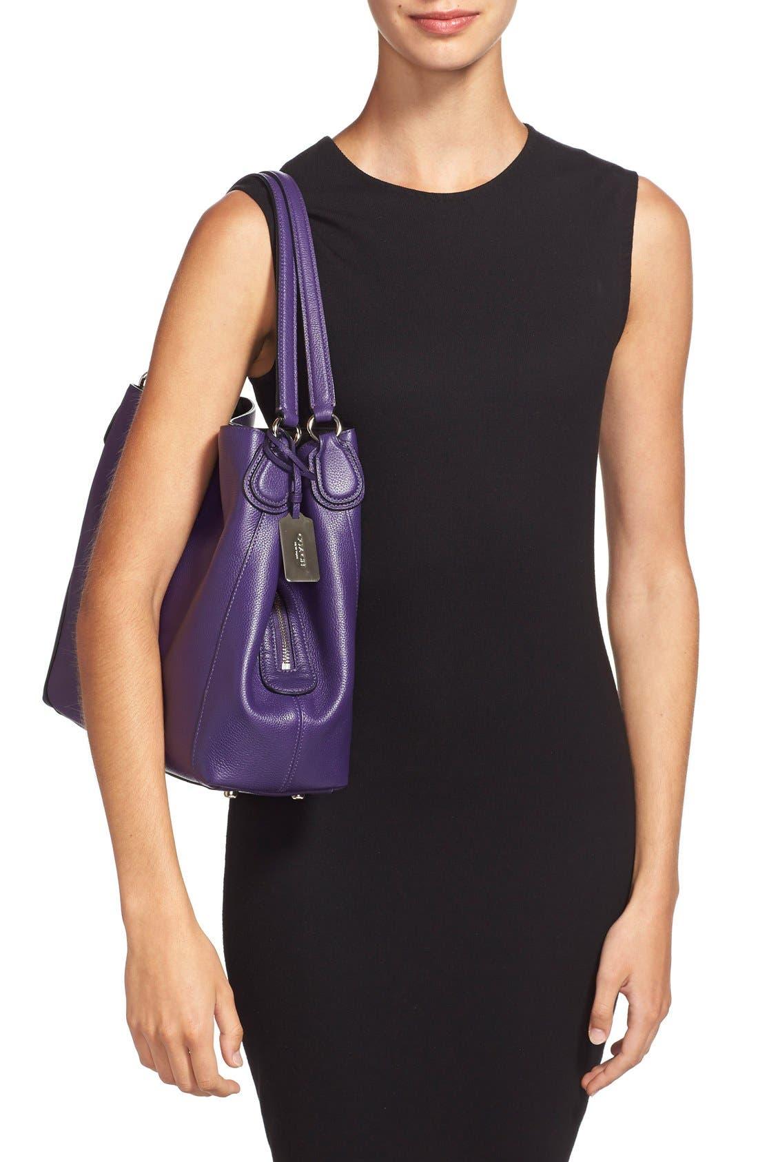 COACH,                             'Edie 31' Pebbled Leather Shoulder Bag,                             Alternate thumbnail 3, color,                             500