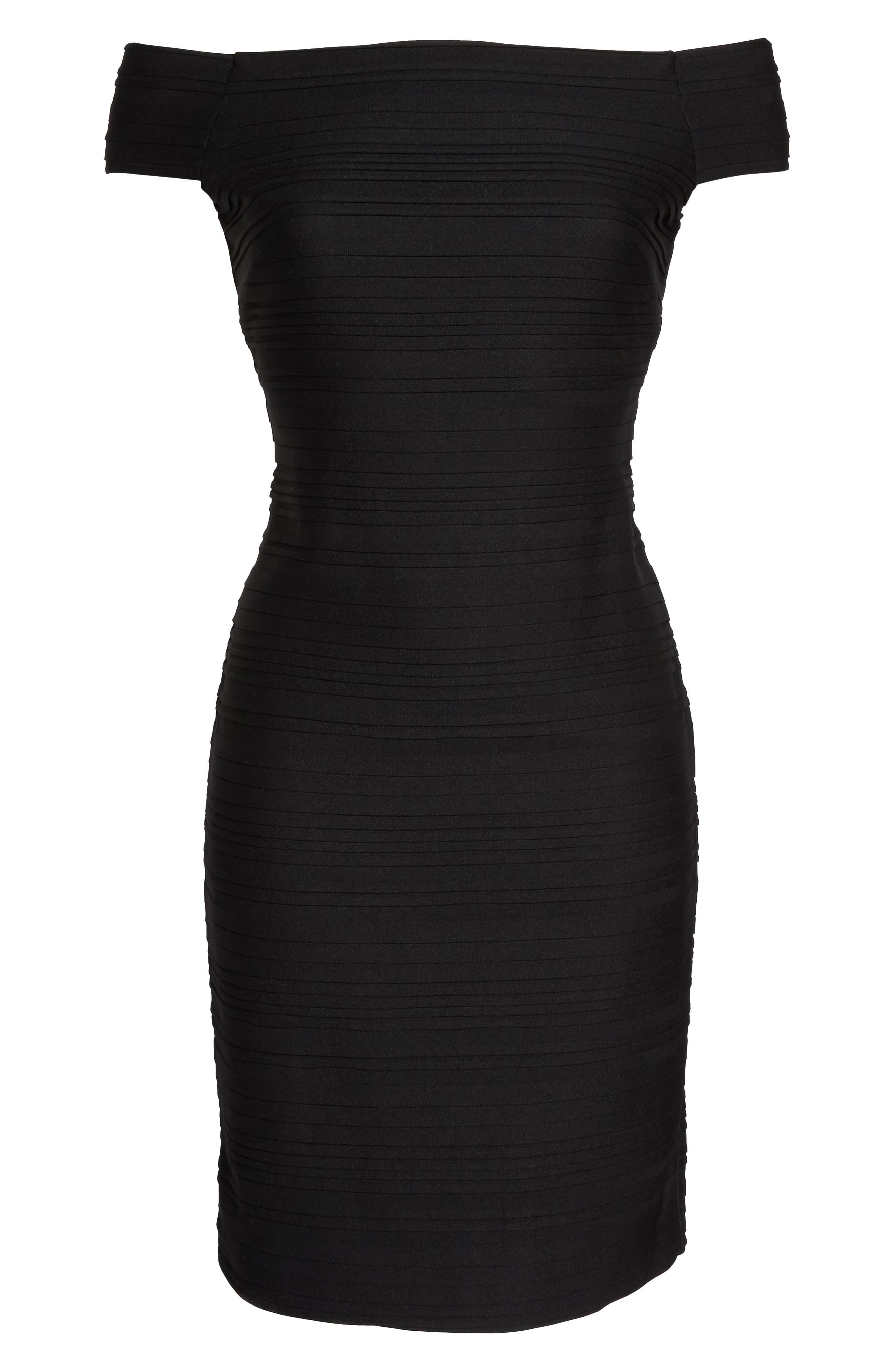 Off the Shoulder Sheath Dress,                             Alternate thumbnail 6, color,                             001