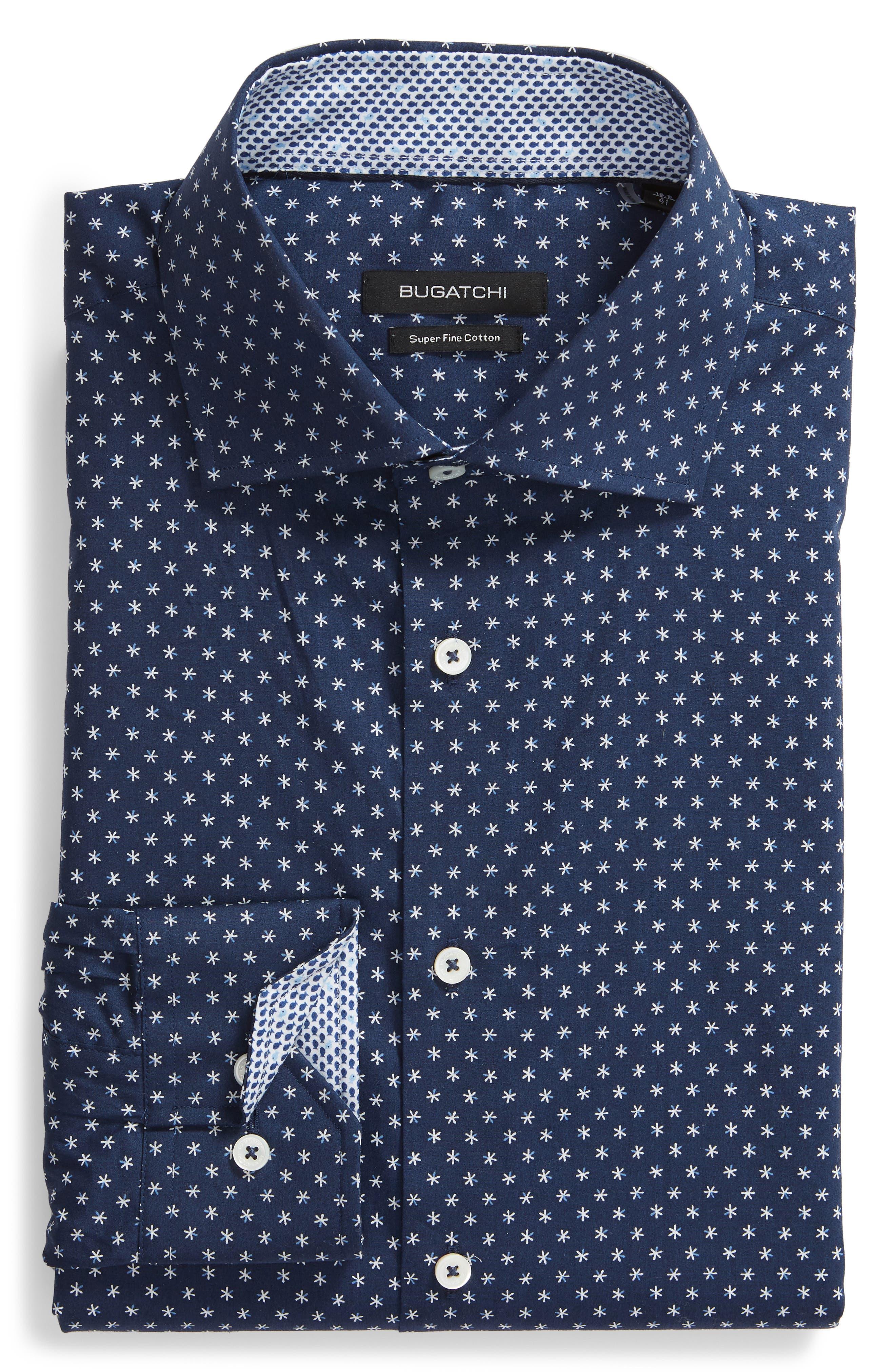 Trim Fit Print Dress Shirt,                             Alternate thumbnail 5, color,                             NAVY