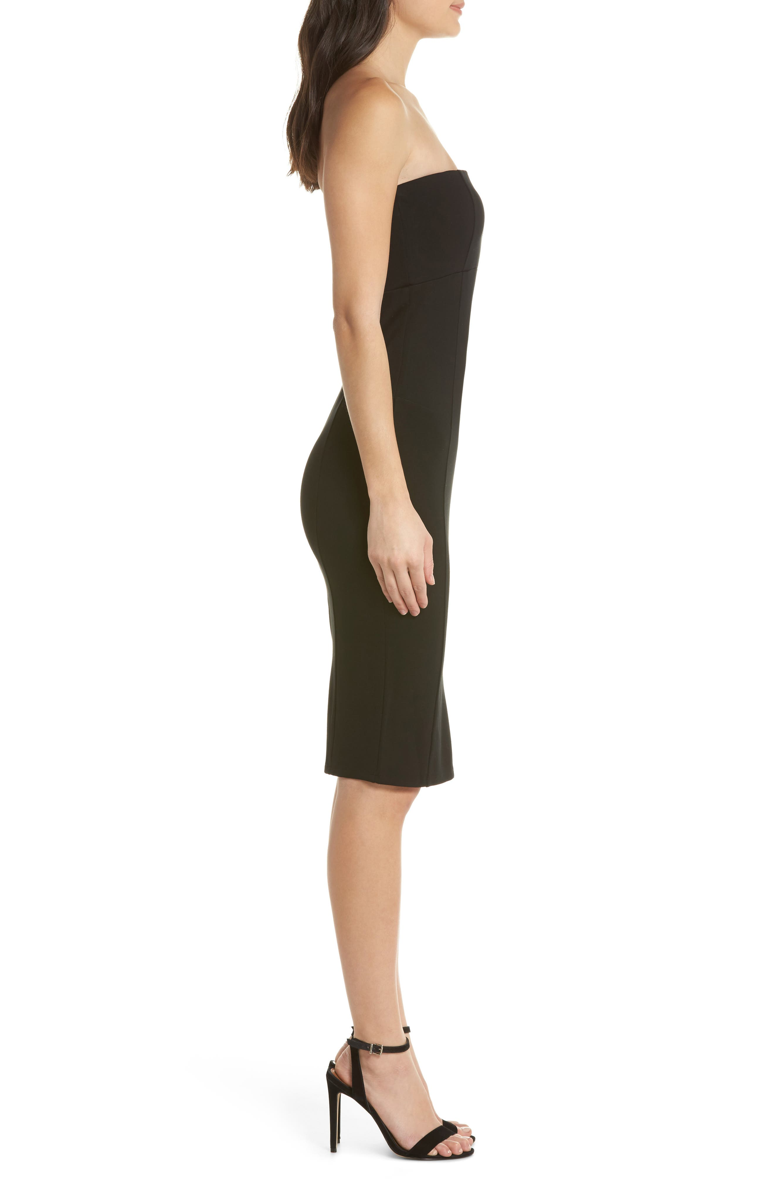 Brianna Strapless Knit Body-Con Dress,                             Alternate thumbnail 3, color,                             001