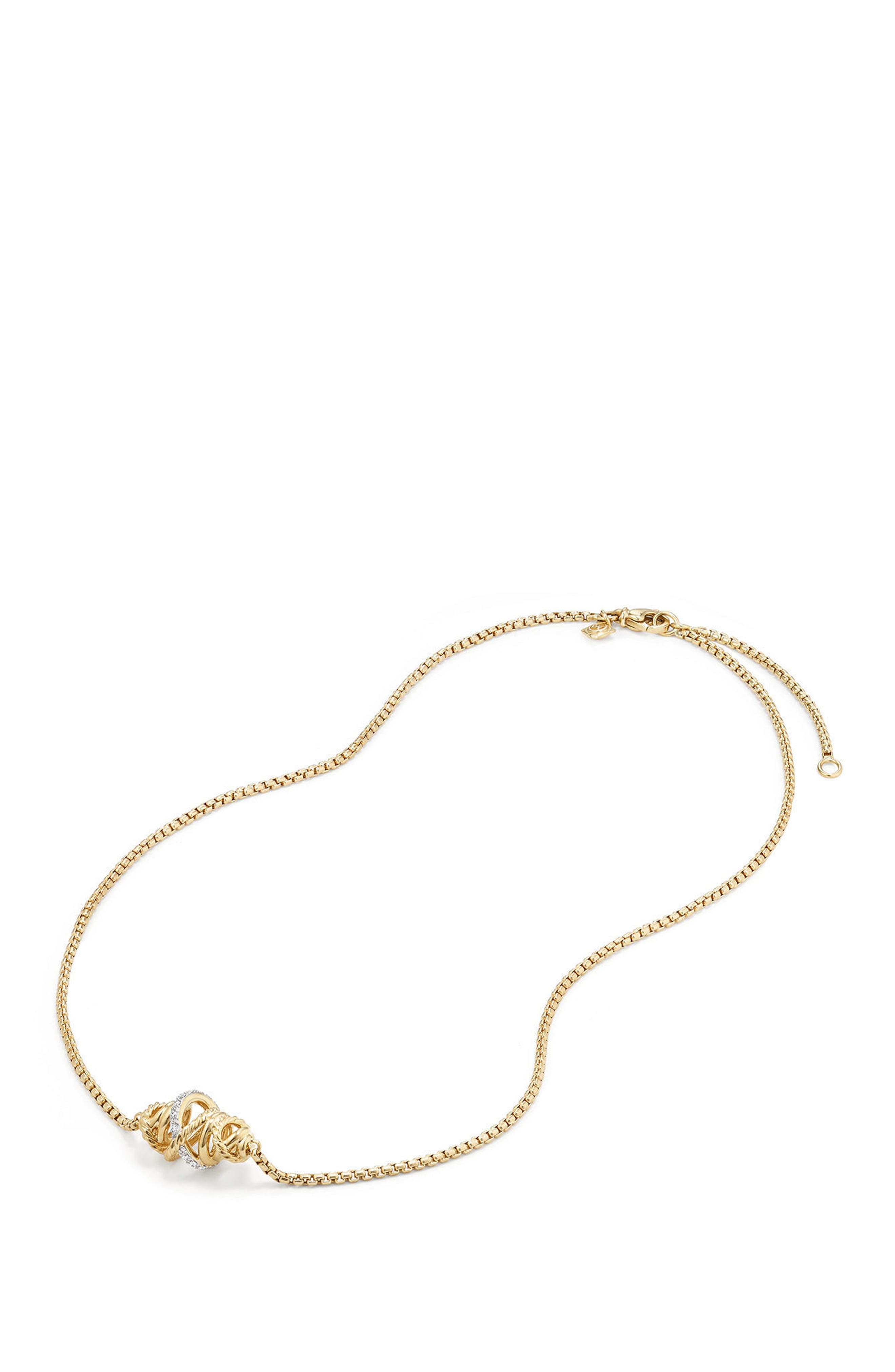 Crossover Station Necklace in 18K Gold with Diamonds,                             Alternate thumbnail 3, color,                             YELLOW GOLD/ DIAMOND