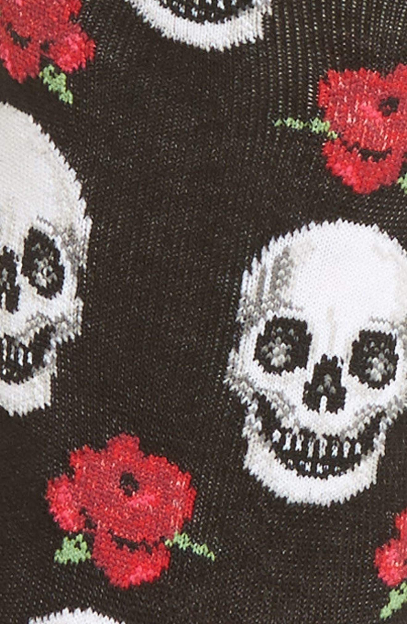Skull & Roses Crew Socks,                             Alternate thumbnail 3, color,                             001