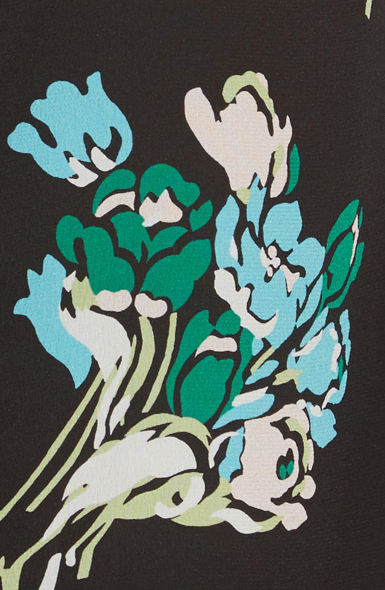 Floral Silk Crepe de Chine Dress,                             Alternate thumbnail 5, color,                             001