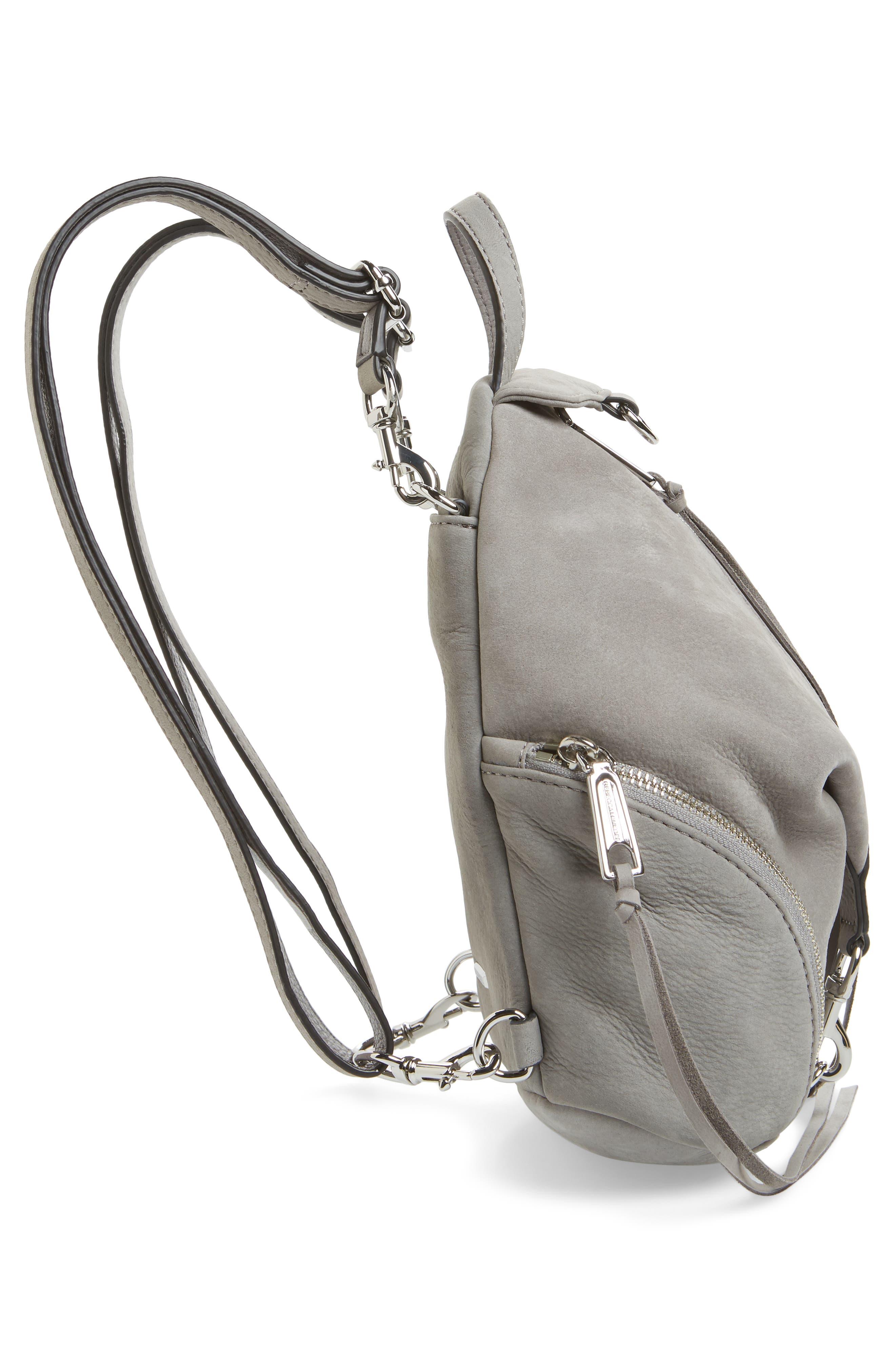 Mini Julian Nubuck Leather Convertible Backpack,                             Alternate thumbnail 5, color,                             GREY