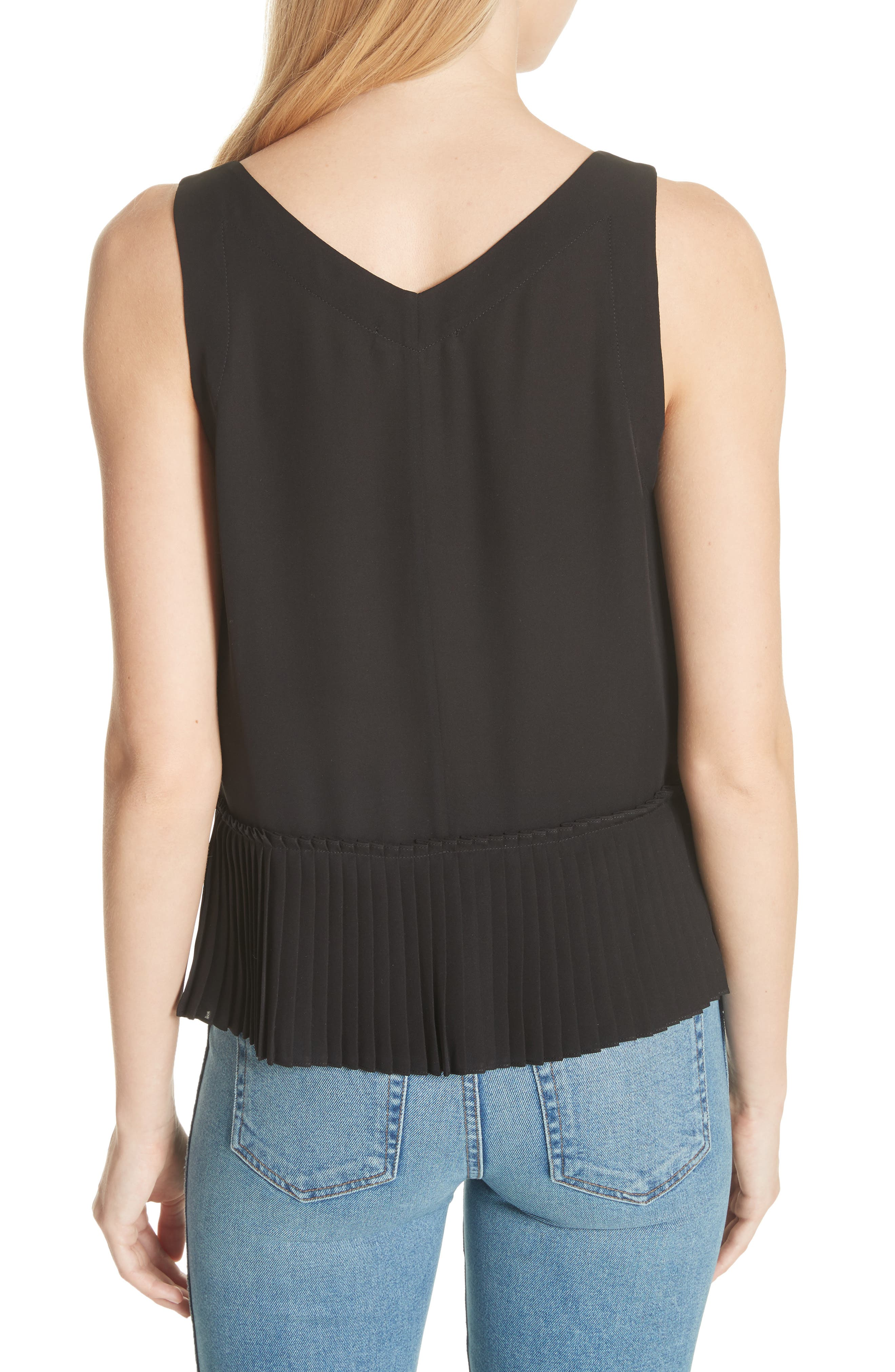 Stretch Silk Tank Top,                             Alternate thumbnail 2, color,                             BLACK