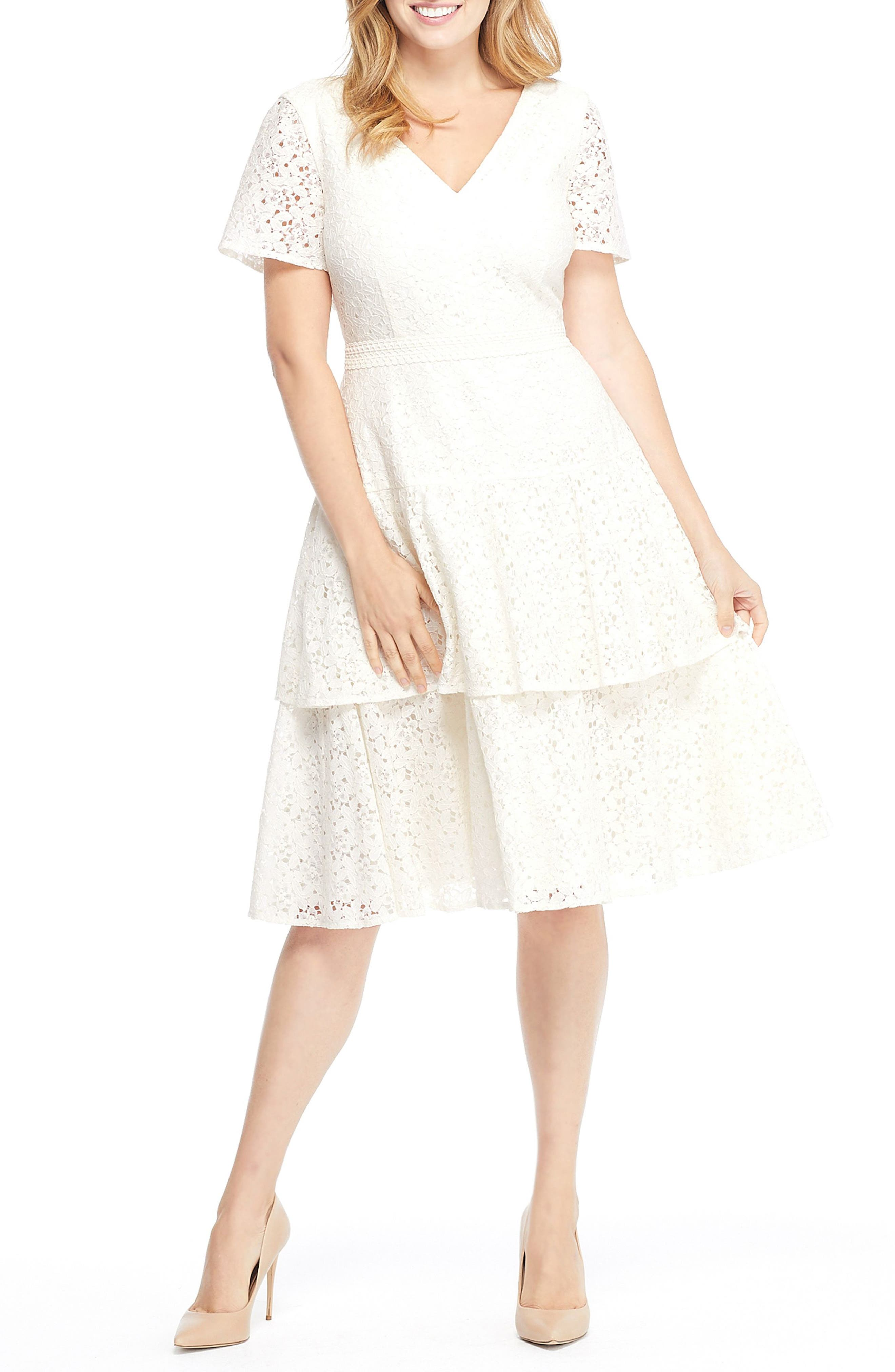 Gal Meets Glam Collection Doris Bow Back Tiered Skirt Lace Dress, Ivory