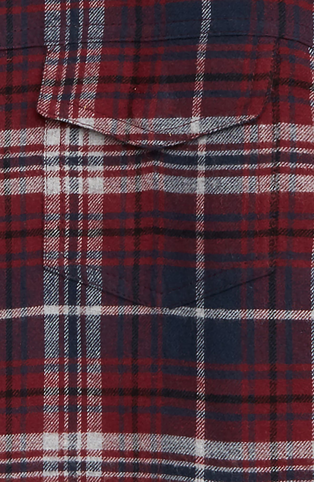 Aiden Quilted Flannel Shirt,                             Alternate thumbnail 2, color,                             BURGUNDY