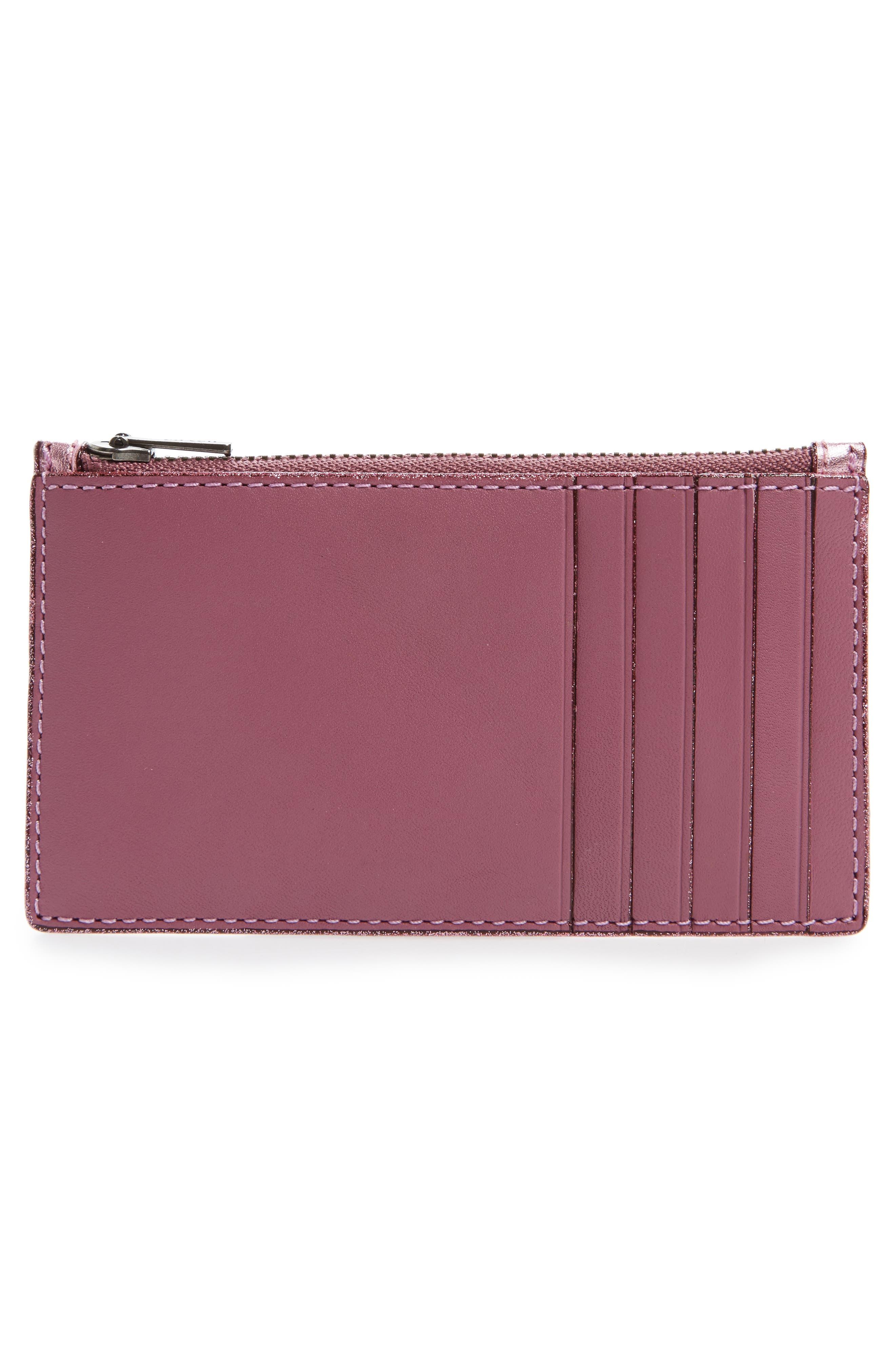 Zip Leather Card Case,                             Alternate thumbnail 6, color,