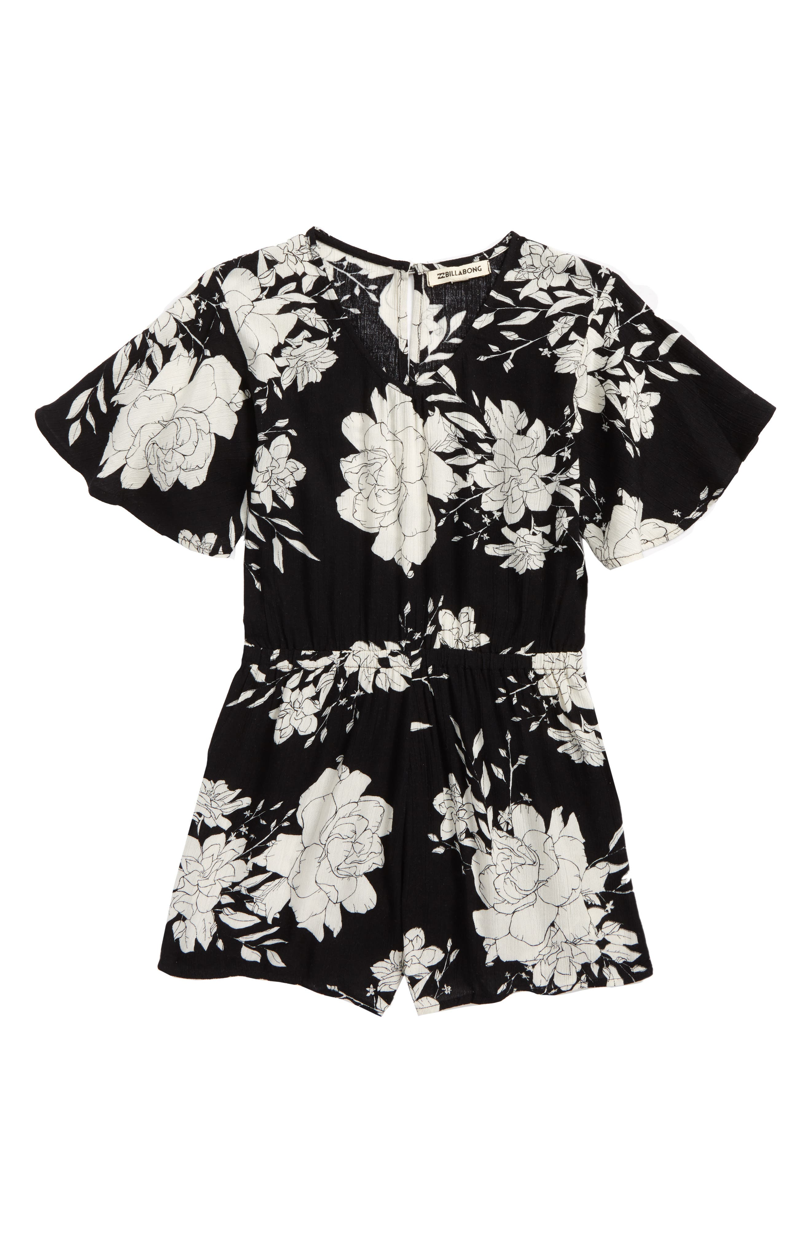 Night Flower Print Romper,                             Main thumbnail 1, color,