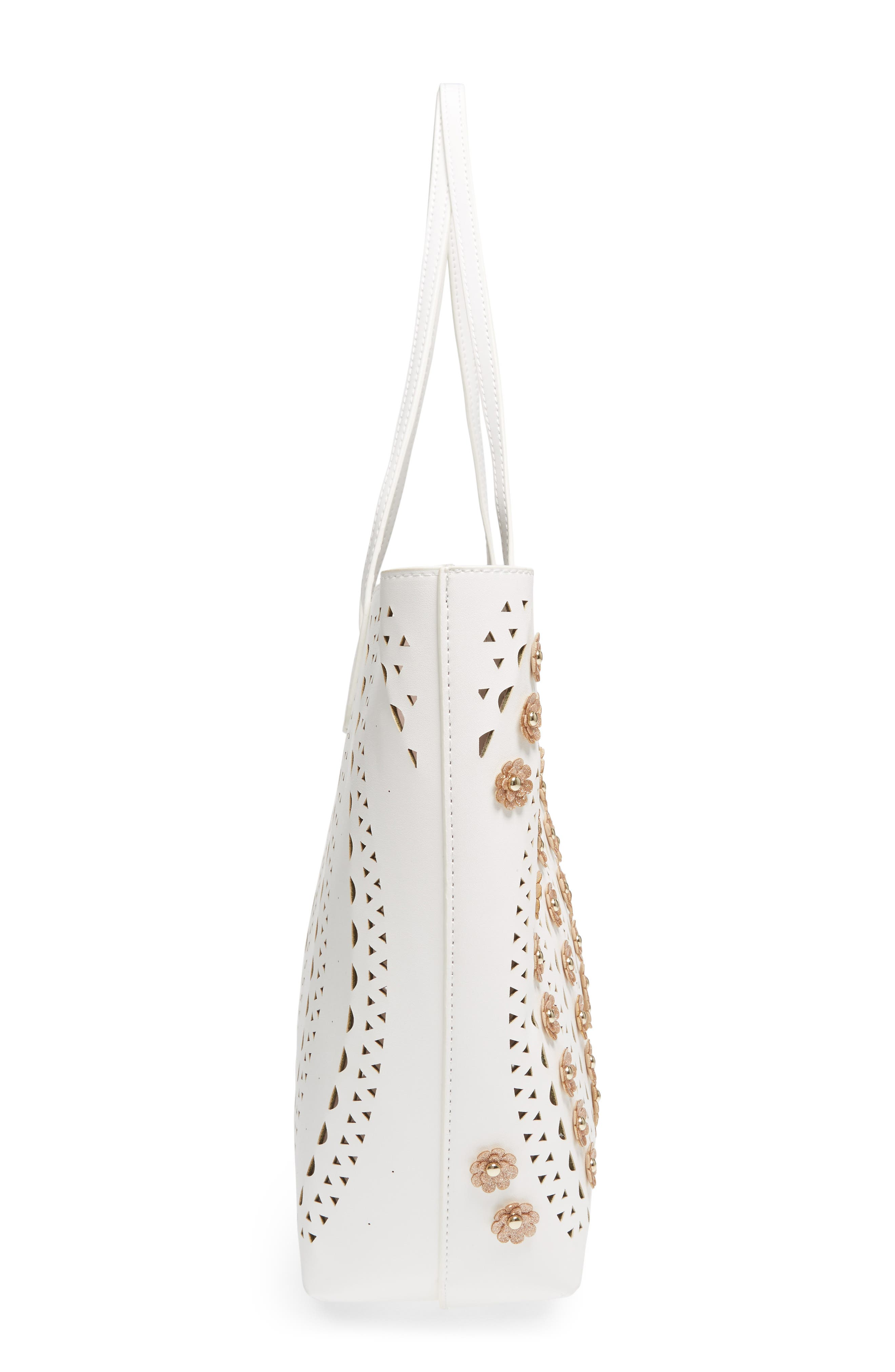 Perforated Glitter Flower Faux Leather Tote,                             Alternate thumbnail 6, color,                             250