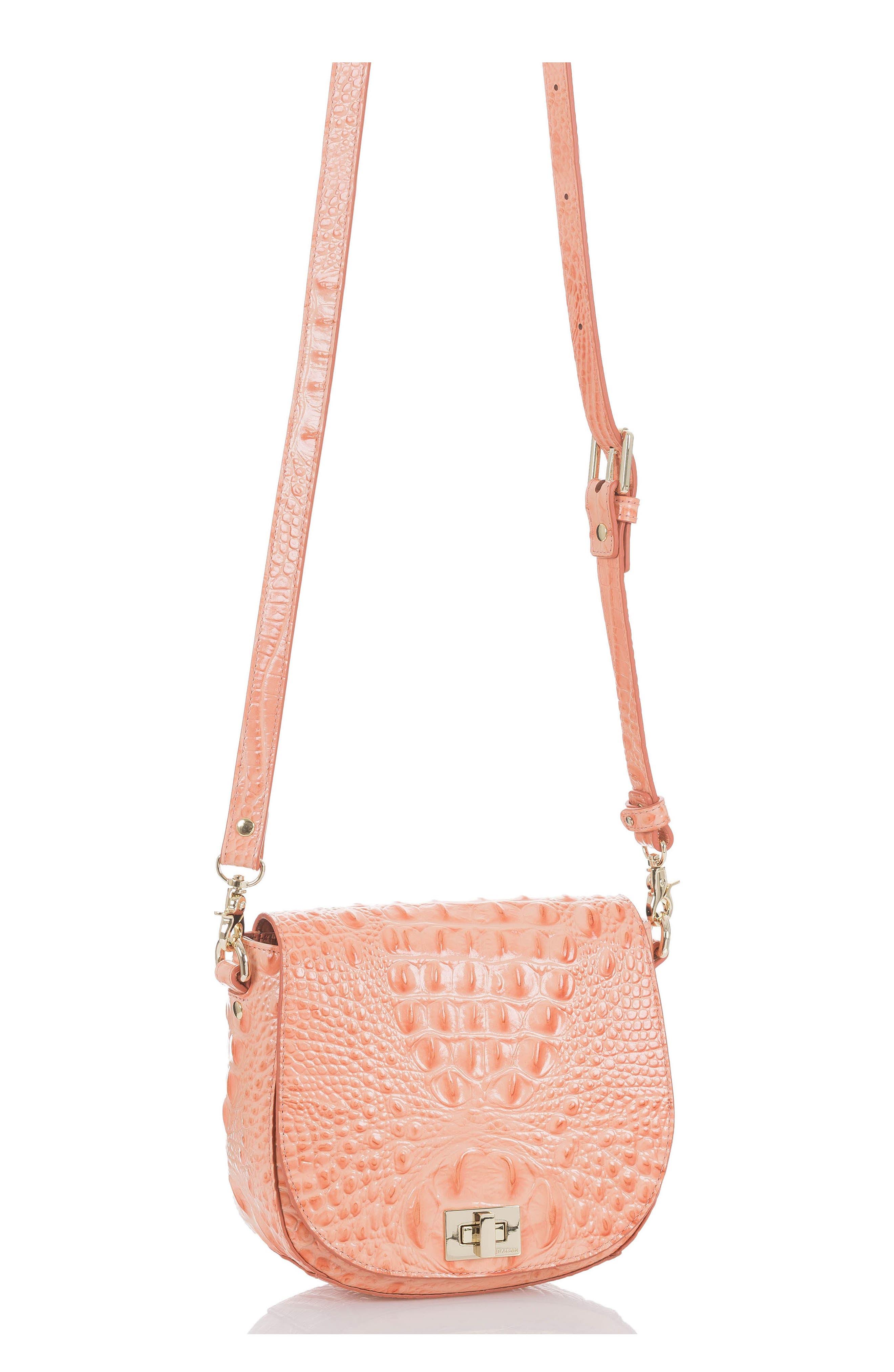 Mini Sonny Leather Crossbody Bag,                             Alternate thumbnail 4, color,                             CANTALOUPE