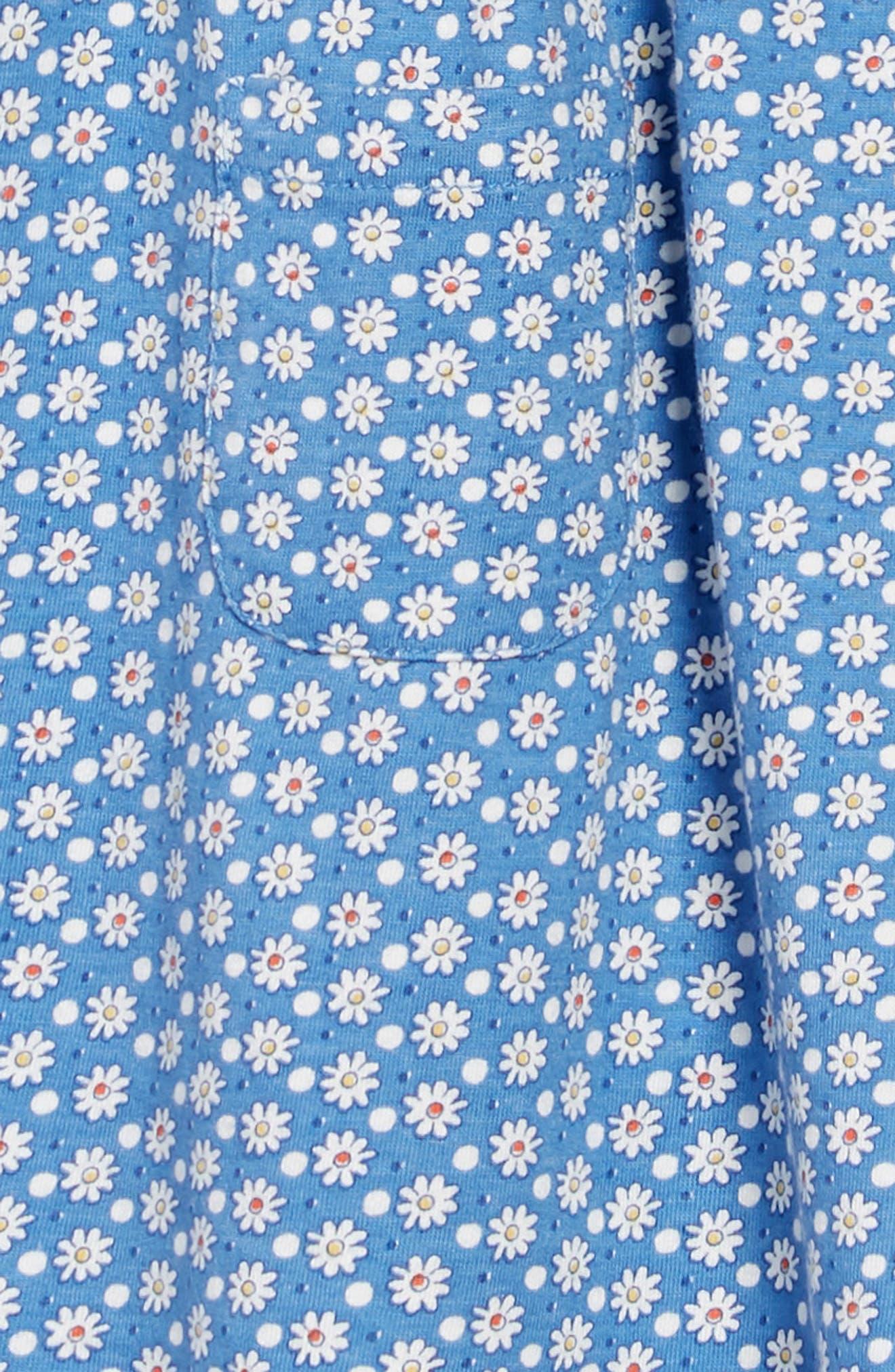 Peter Pan Collar Jersey Dress,                             Alternate thumbnail 3, color,                             BLU IVORY DAISY DOT