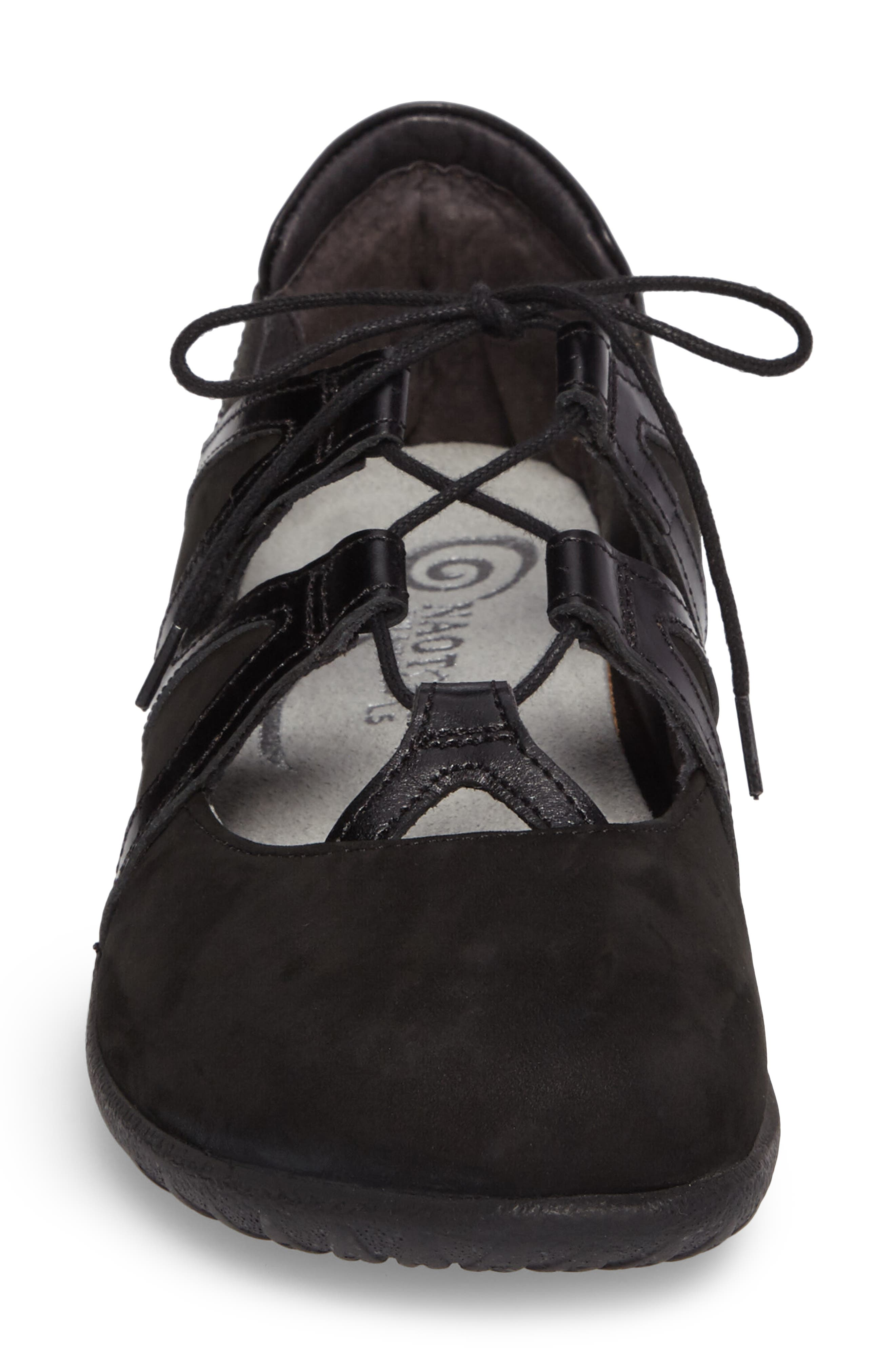 Timu Ghillie Lace Flat,                             Alternate thumbnail 4, color,                             BLACK MADRAS LEATHER