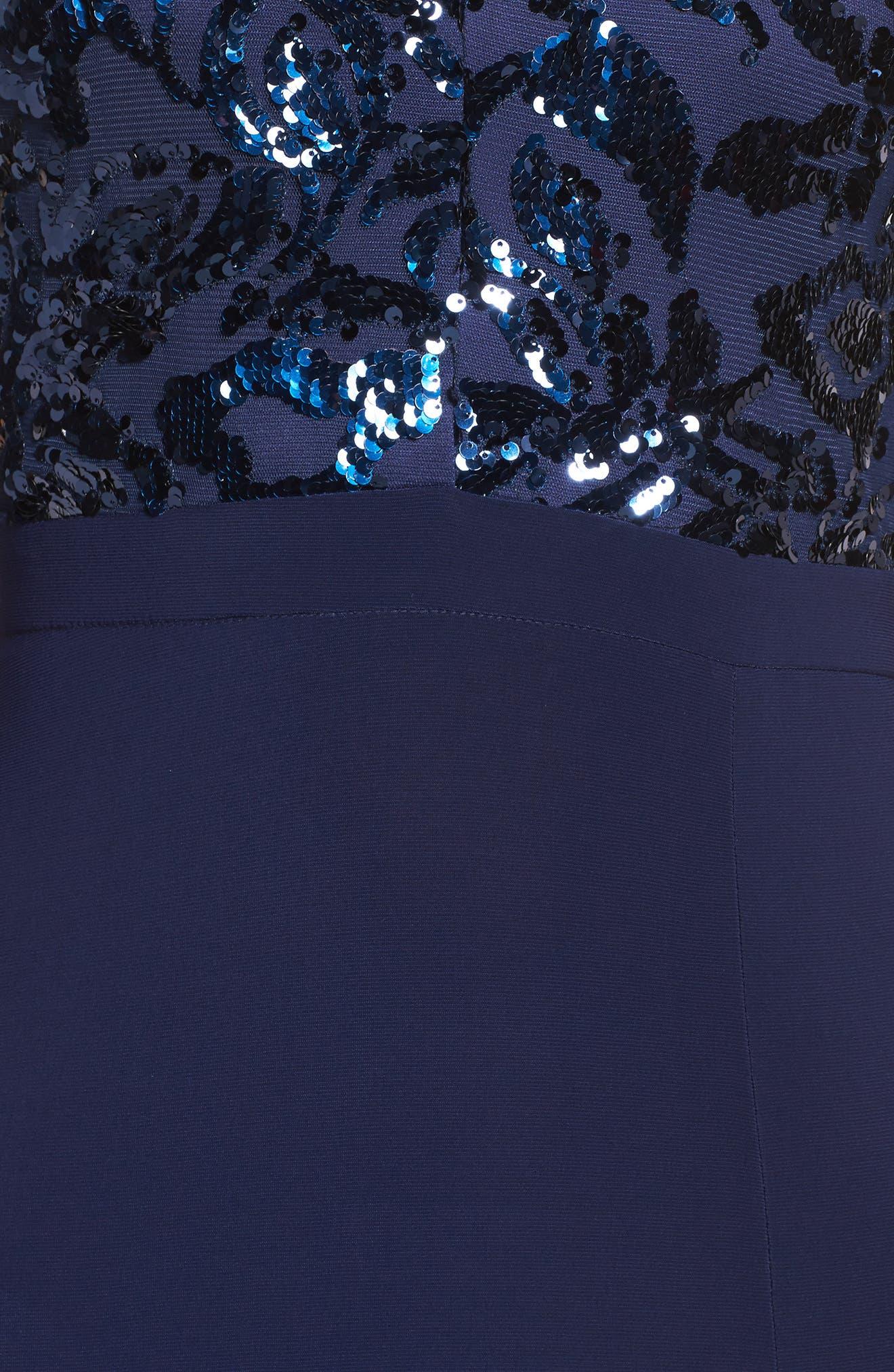 Sequin Halter Neck Gown,                             Alternate thumbnail 5, color,                             NAVY