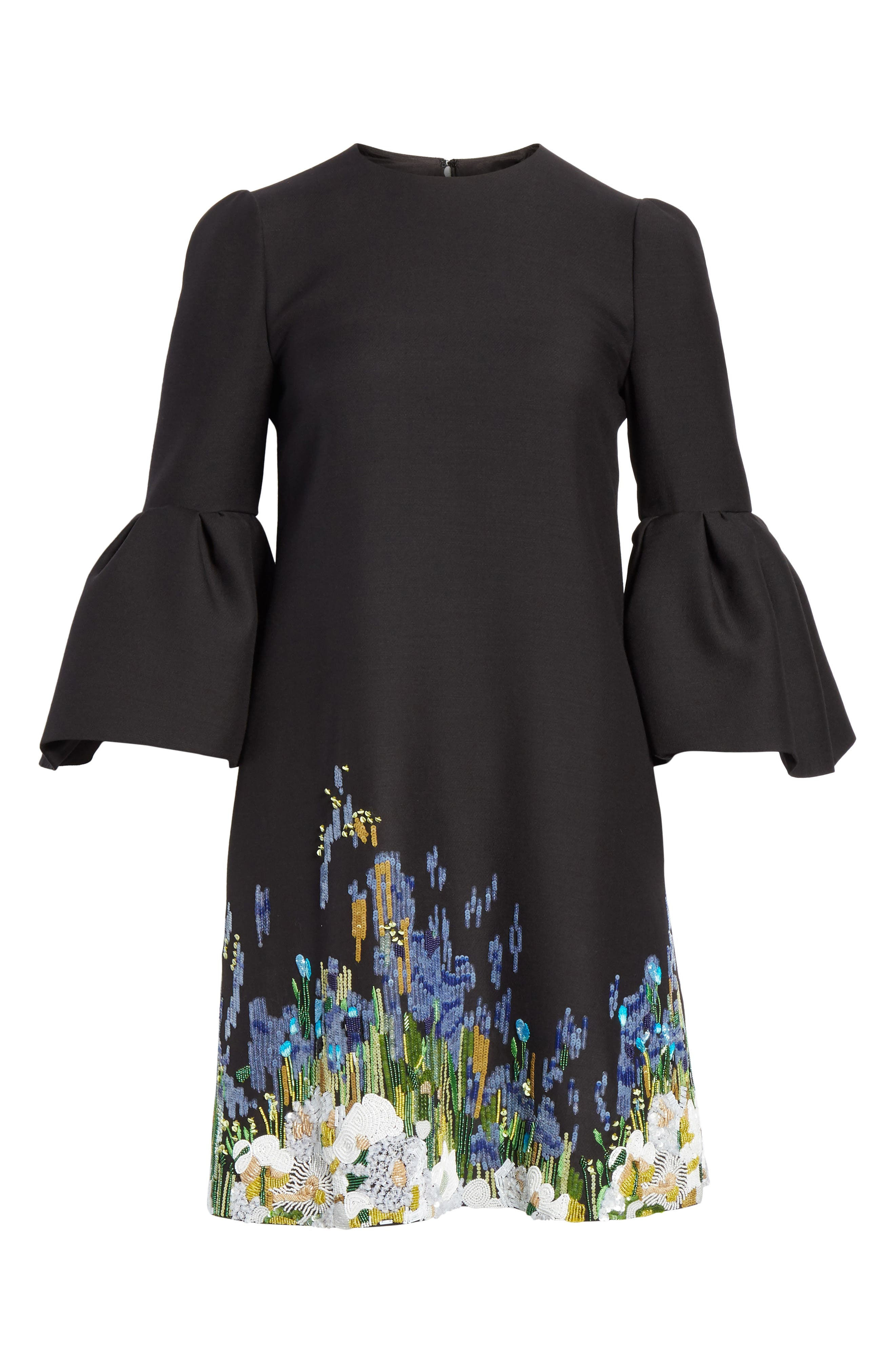 Ruffle Sleeve Floral Embroidered Dress,                             Alternate thumbnail 6, color,                             BLACK MULTI