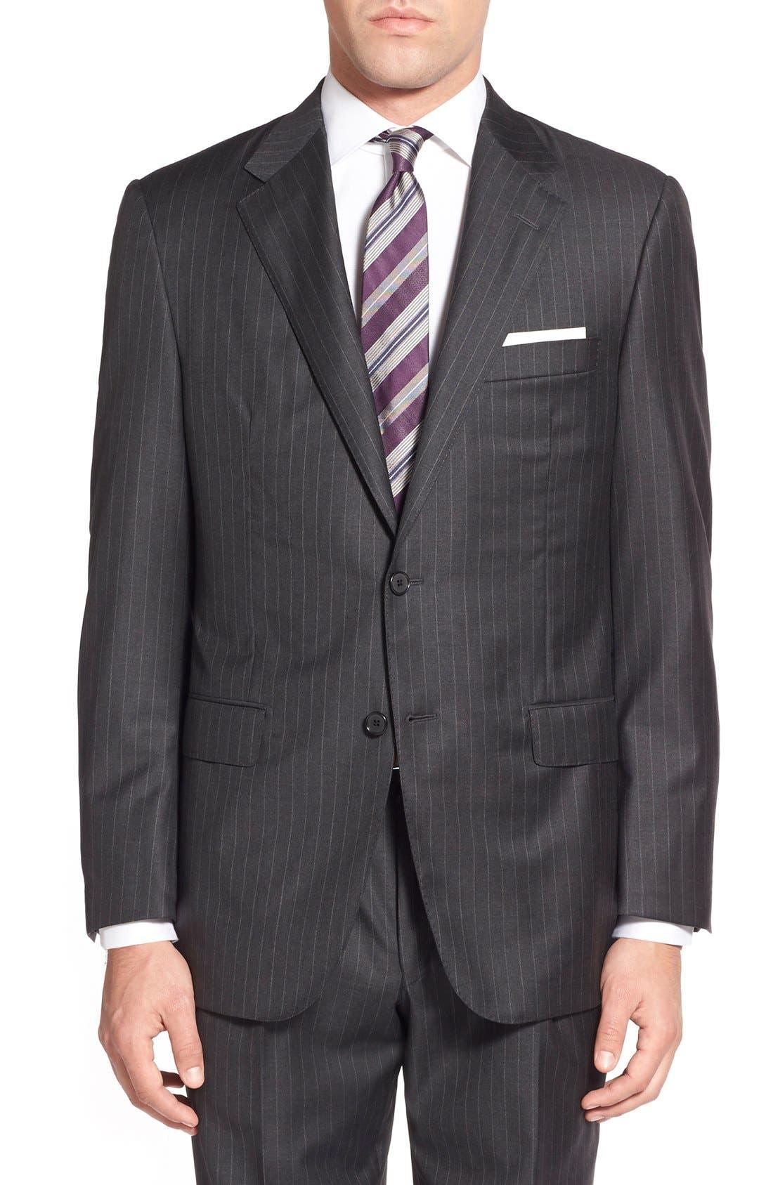 'Addison - A Series' Classic Fit Stripe Wool Suit,                             Alternate thumbnail 3, color,                             031