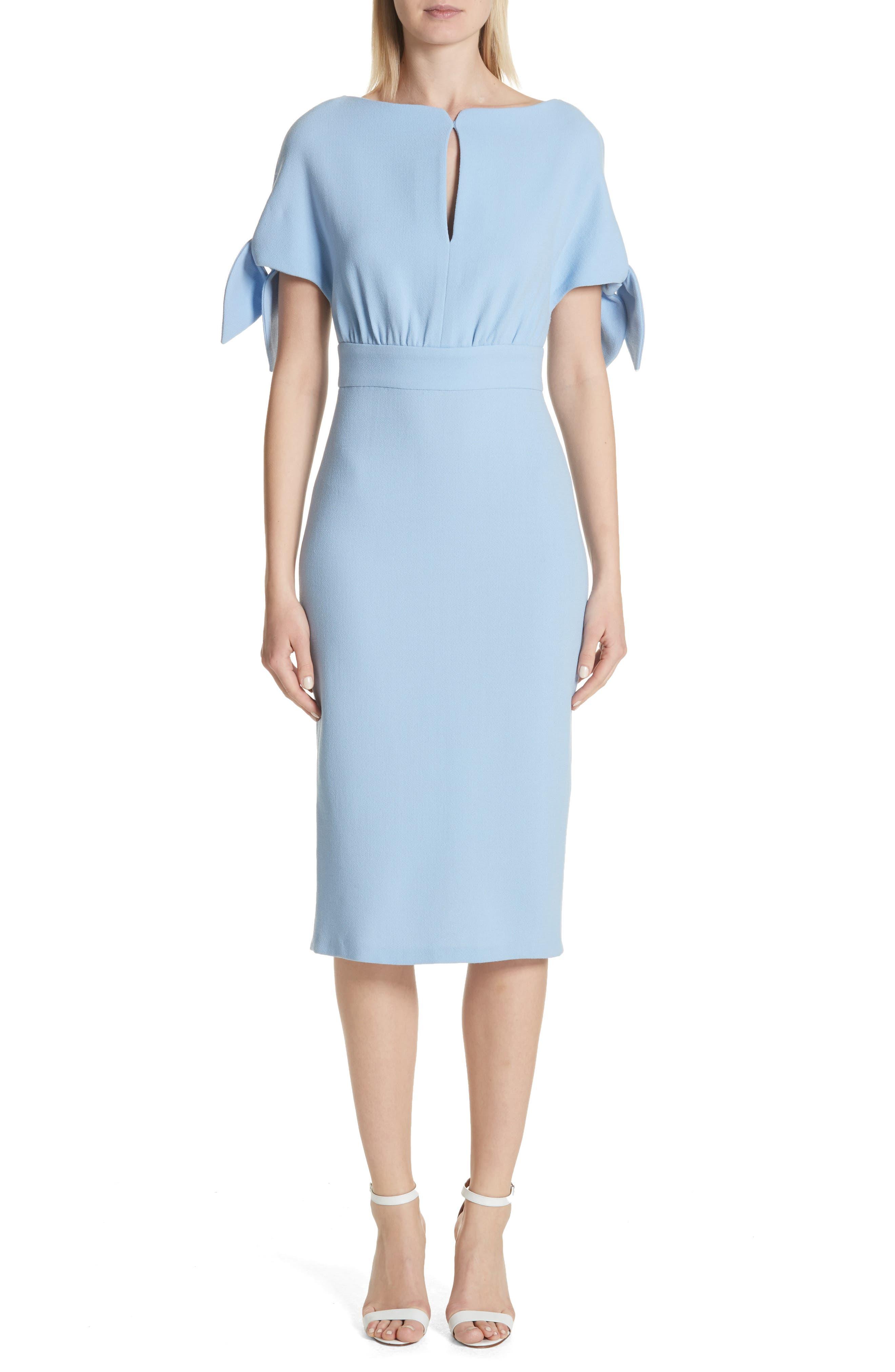 Tie Sleeve Wool Blend Sheath Dress,                             Alternate thumbnail 5, color,                             001