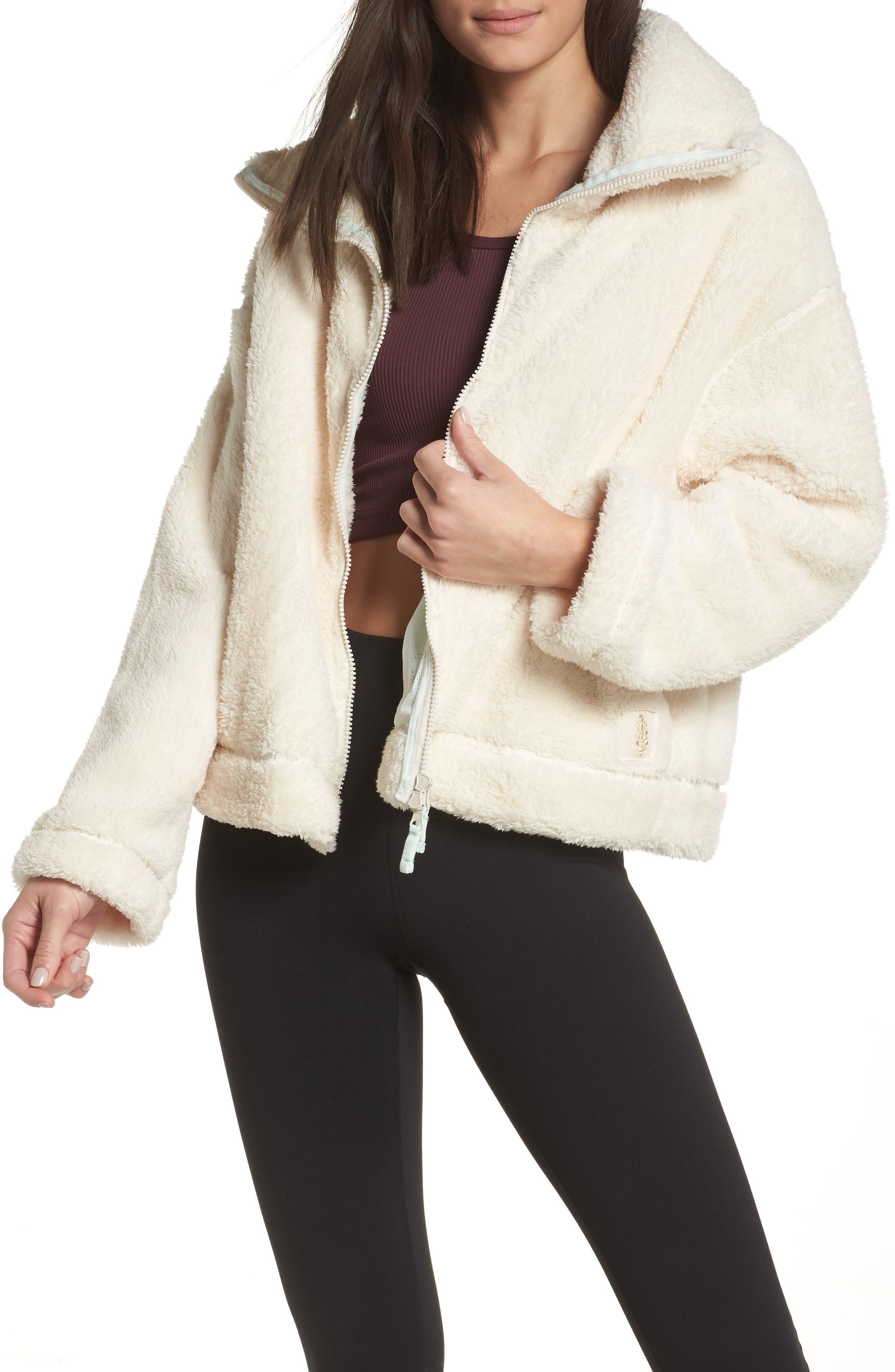 Free People Dazed Fleece Jacket, White