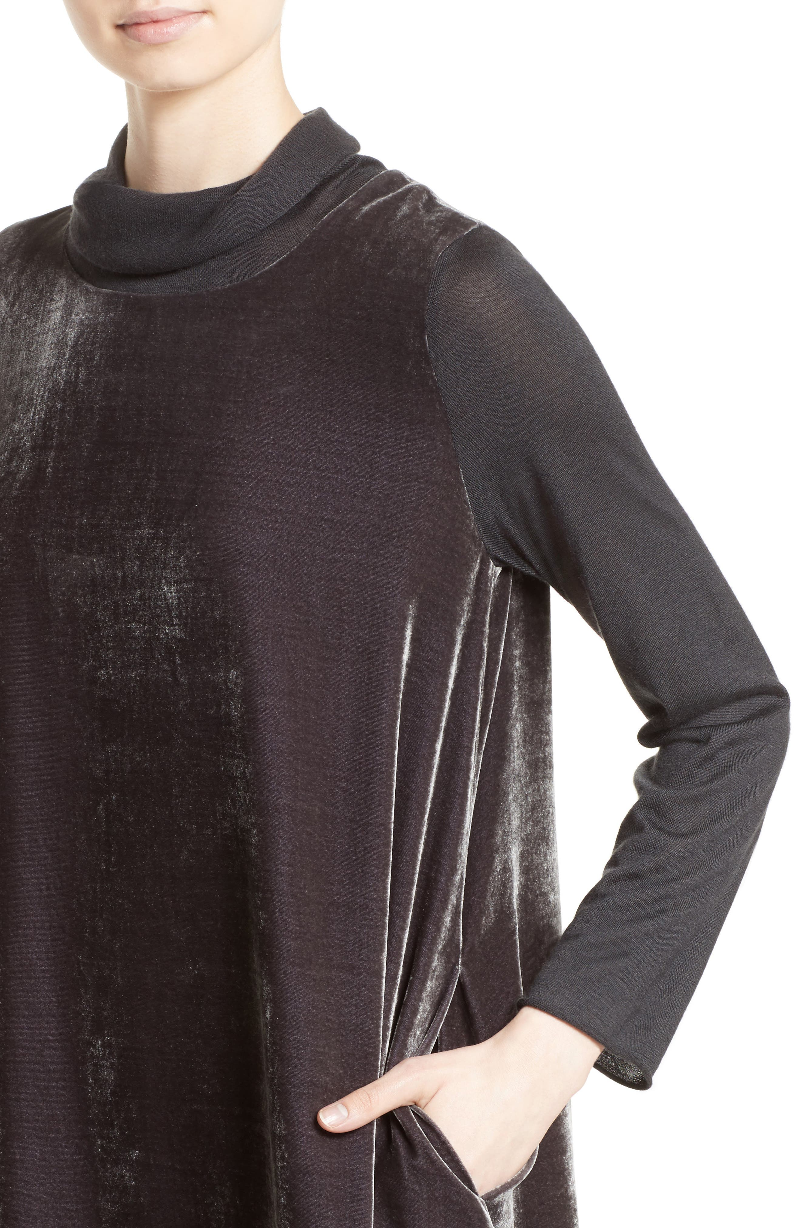 Velvet Turtleneck Dress,                             Alternate thumbnail 4, color,                             021