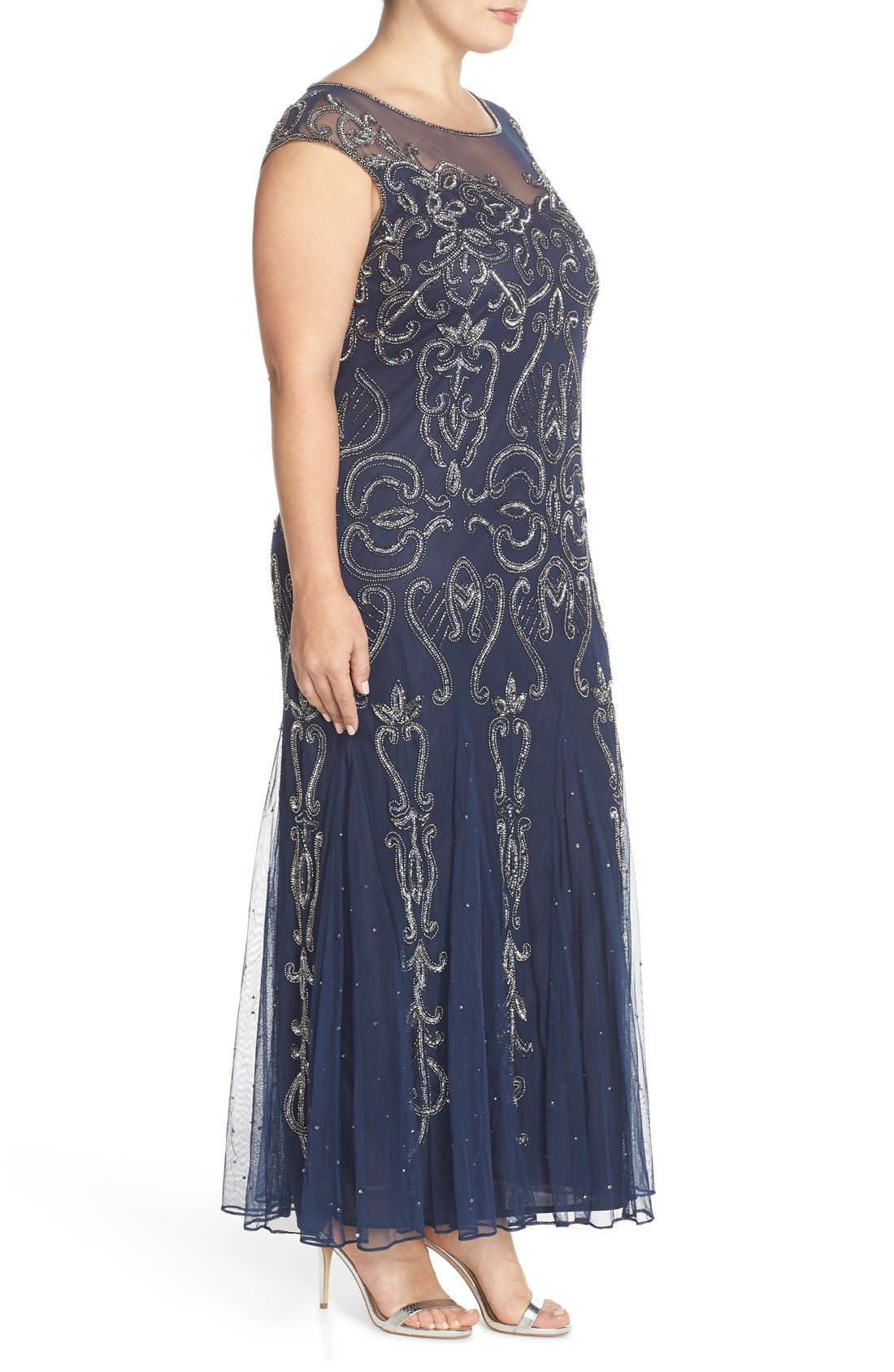 Illusion Neck Beaded A-Line Gown,                             Alternate thumbnail 11, color,