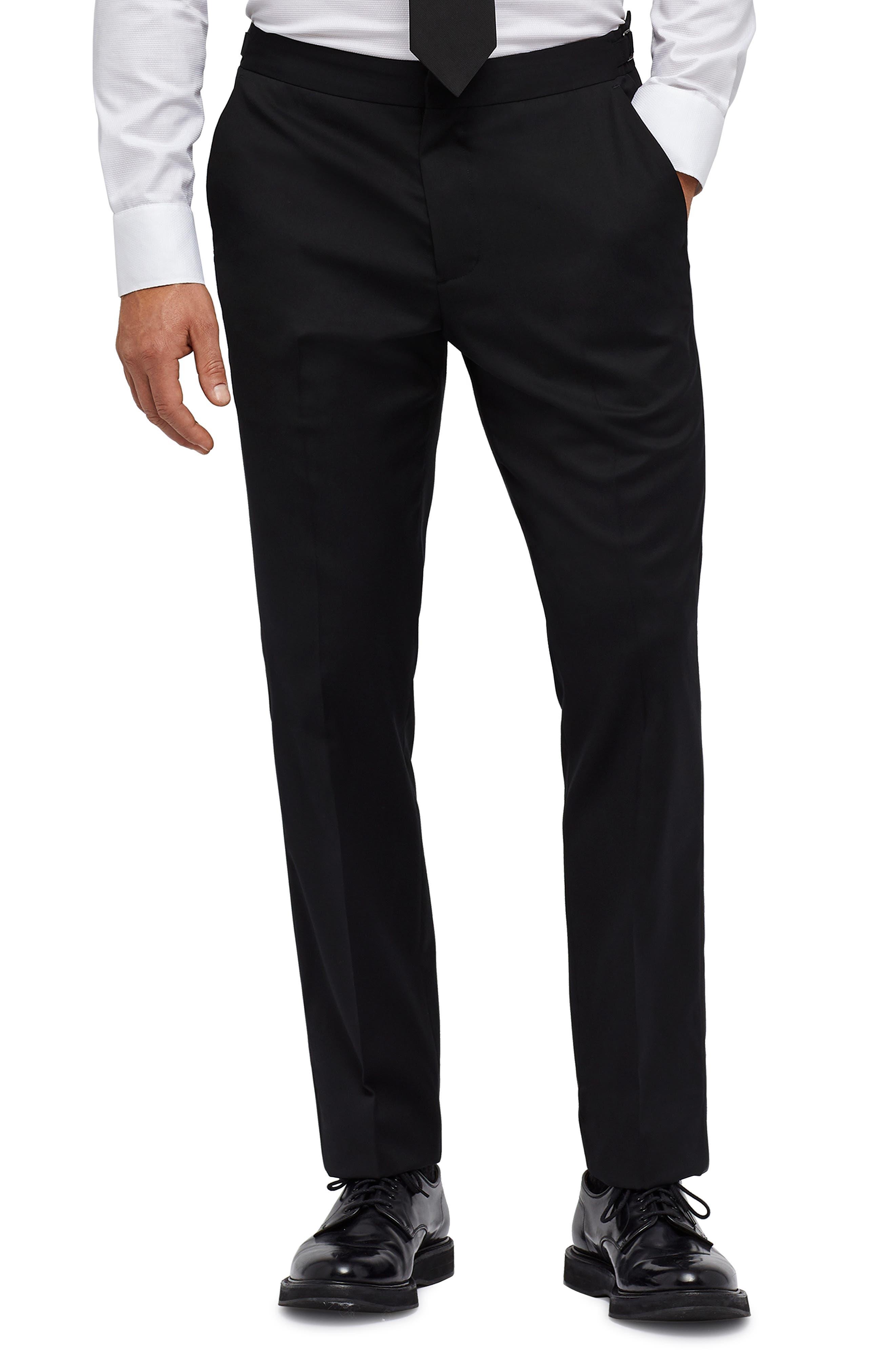 Slim Fit Performance Tuxedo Pants, Main, color, BLACK