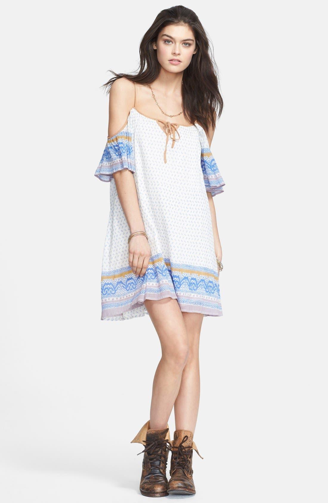 Cold Shoulder Cotton Peasant Dress,                             Main thumbnail 2, color,