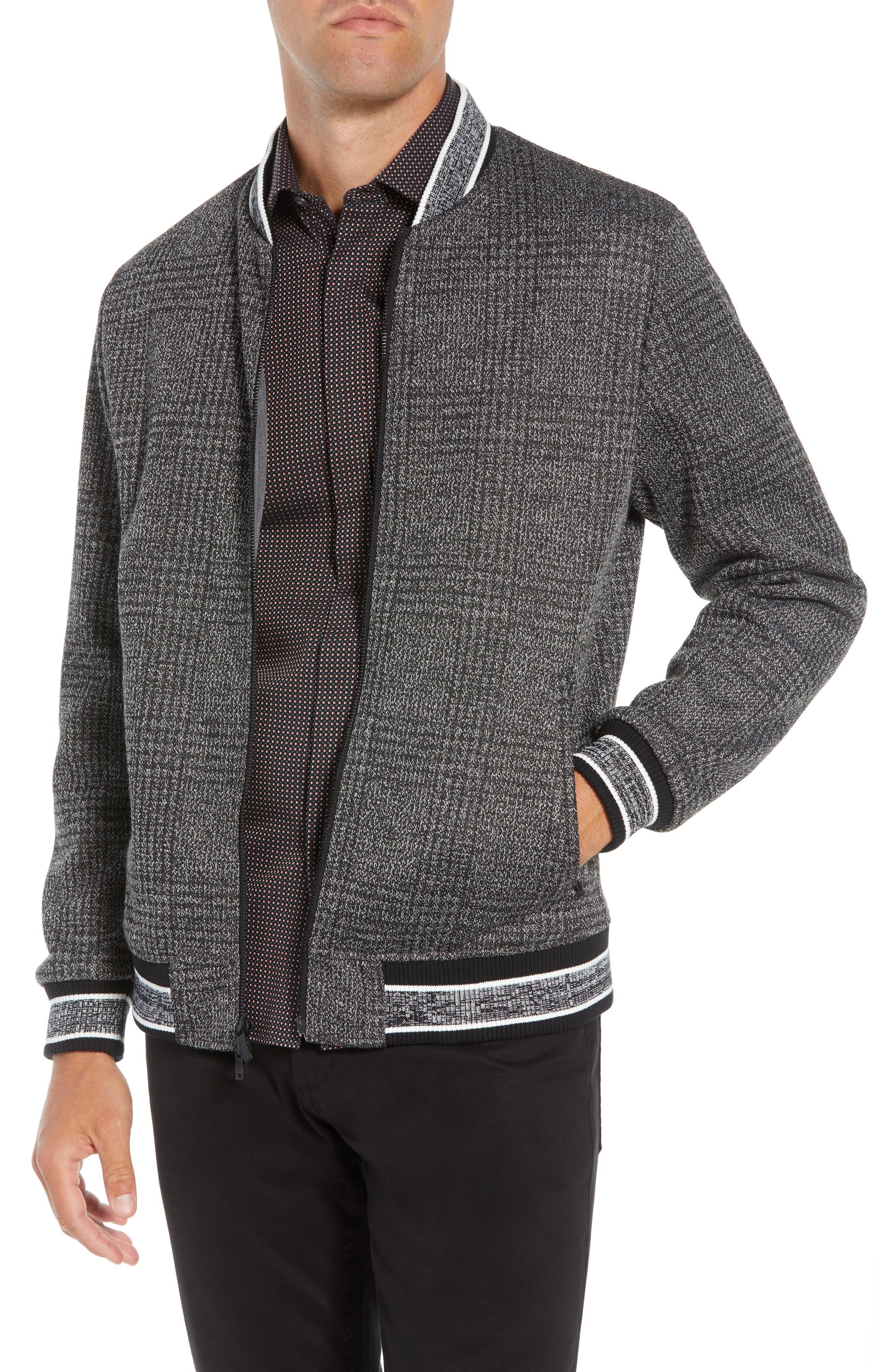 Slim Fit Plaid Knit Bomber Jacket,                         Main,                         color, CHARCOAL PLAID