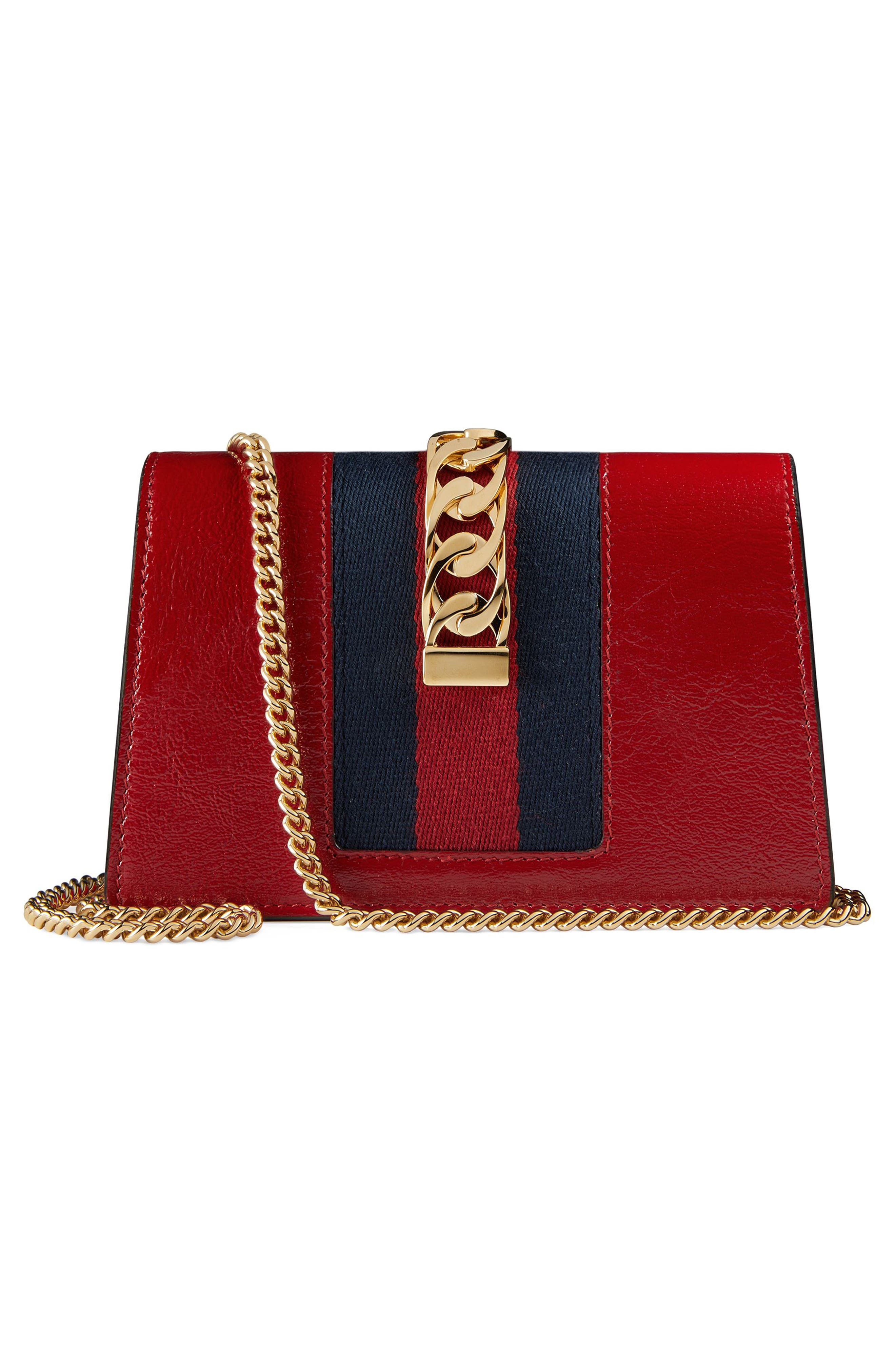Super Mini Sylvie Embroidered Chain Wallet with Hook,                             Alternate thumbnail 3, color,                             HIBISCUS RED MULTI/ BLUE