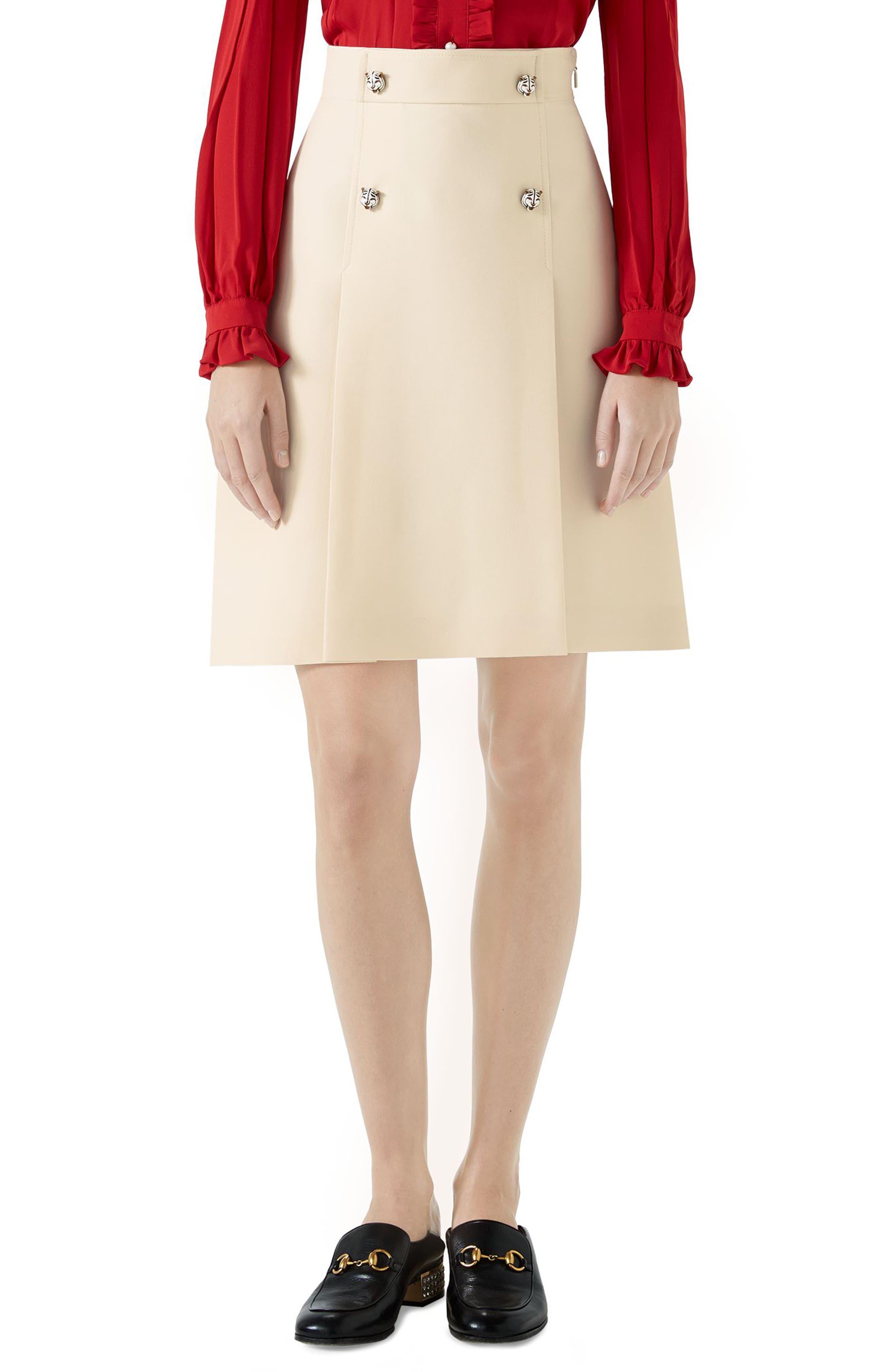 Tiger Button Wool & Silk Crepe A-Line Skirt,                             Main thumbnail 1, color,                             GARDENIA
