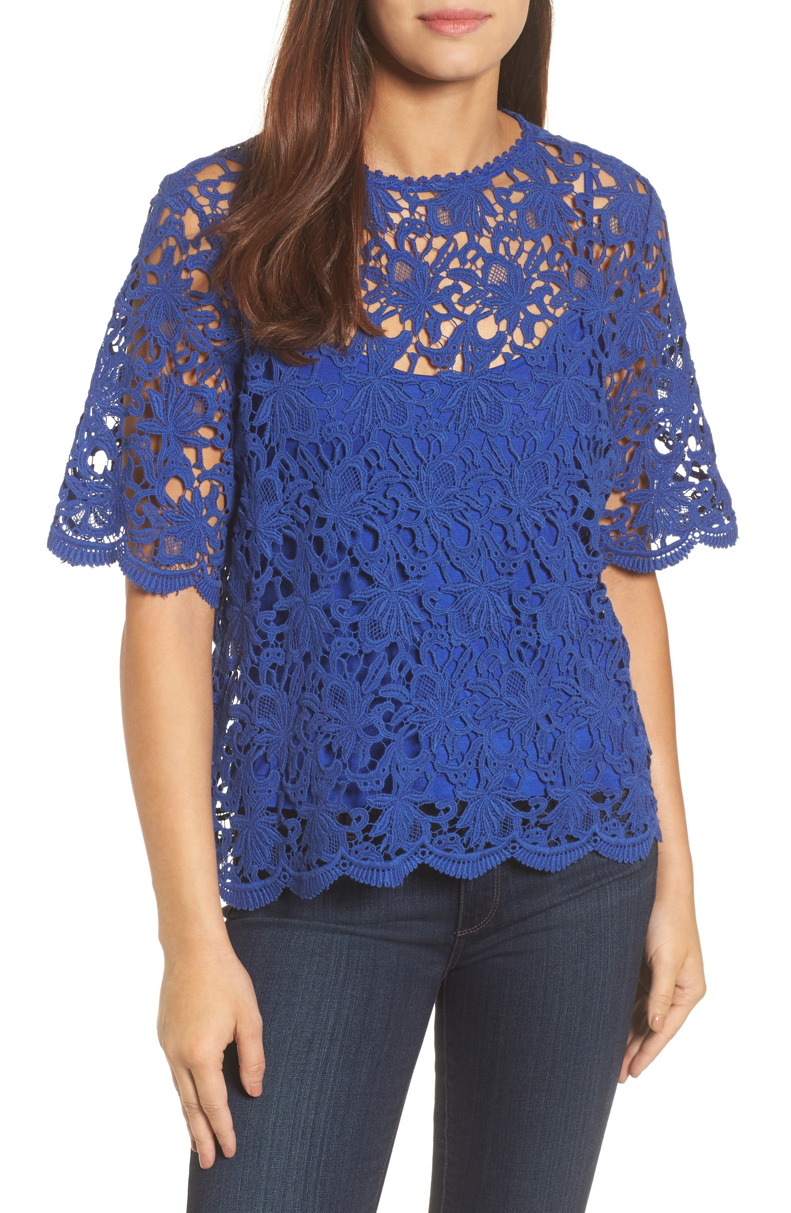 Lace Elbow Sleeve Blouse,                             Main thumbnail 2, color,