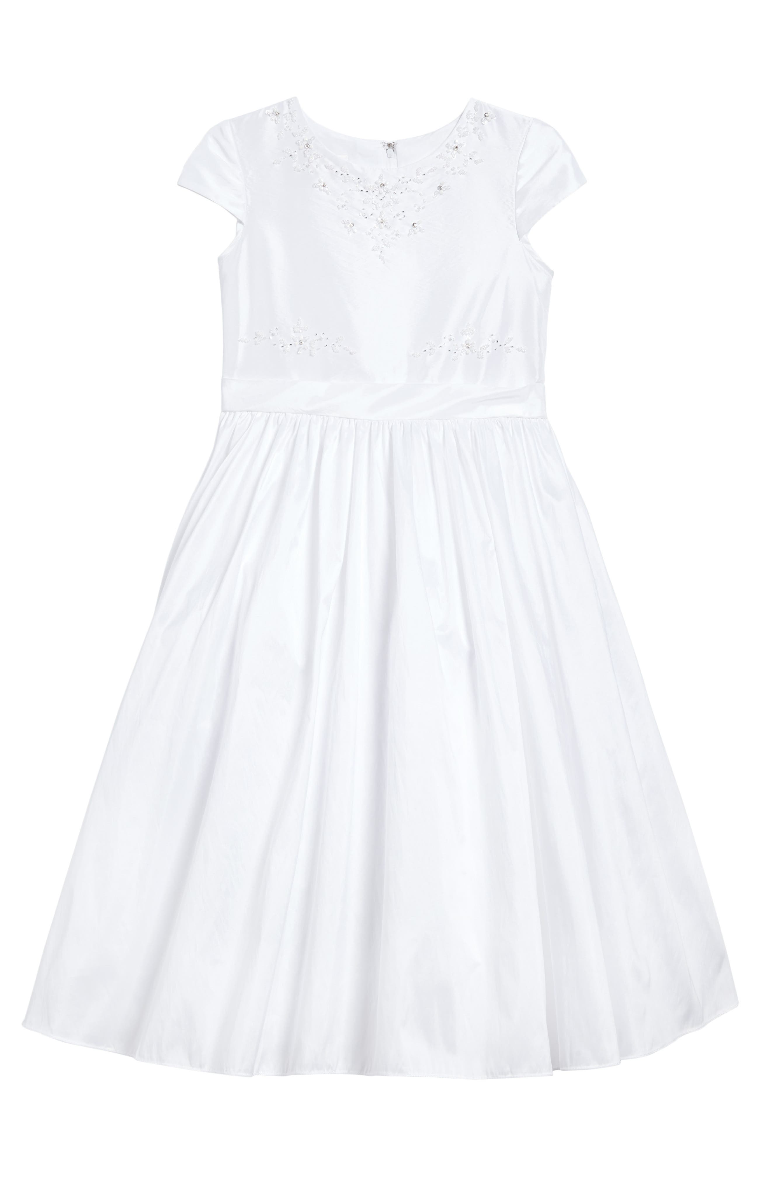Beaded Taffeta First Communion Dress,                             Main thumbnail 1, color,                             100