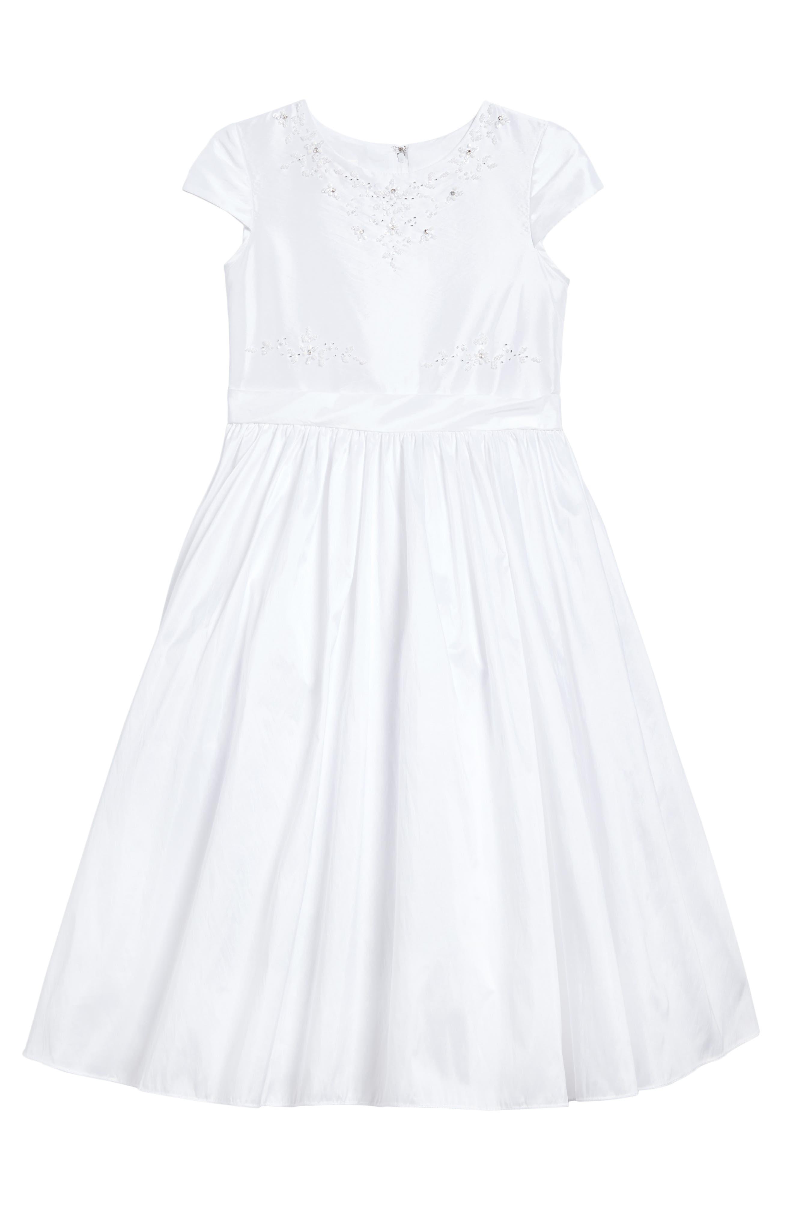 Beaded Taffeta First Communion Dress,                         Main,                         color, 100