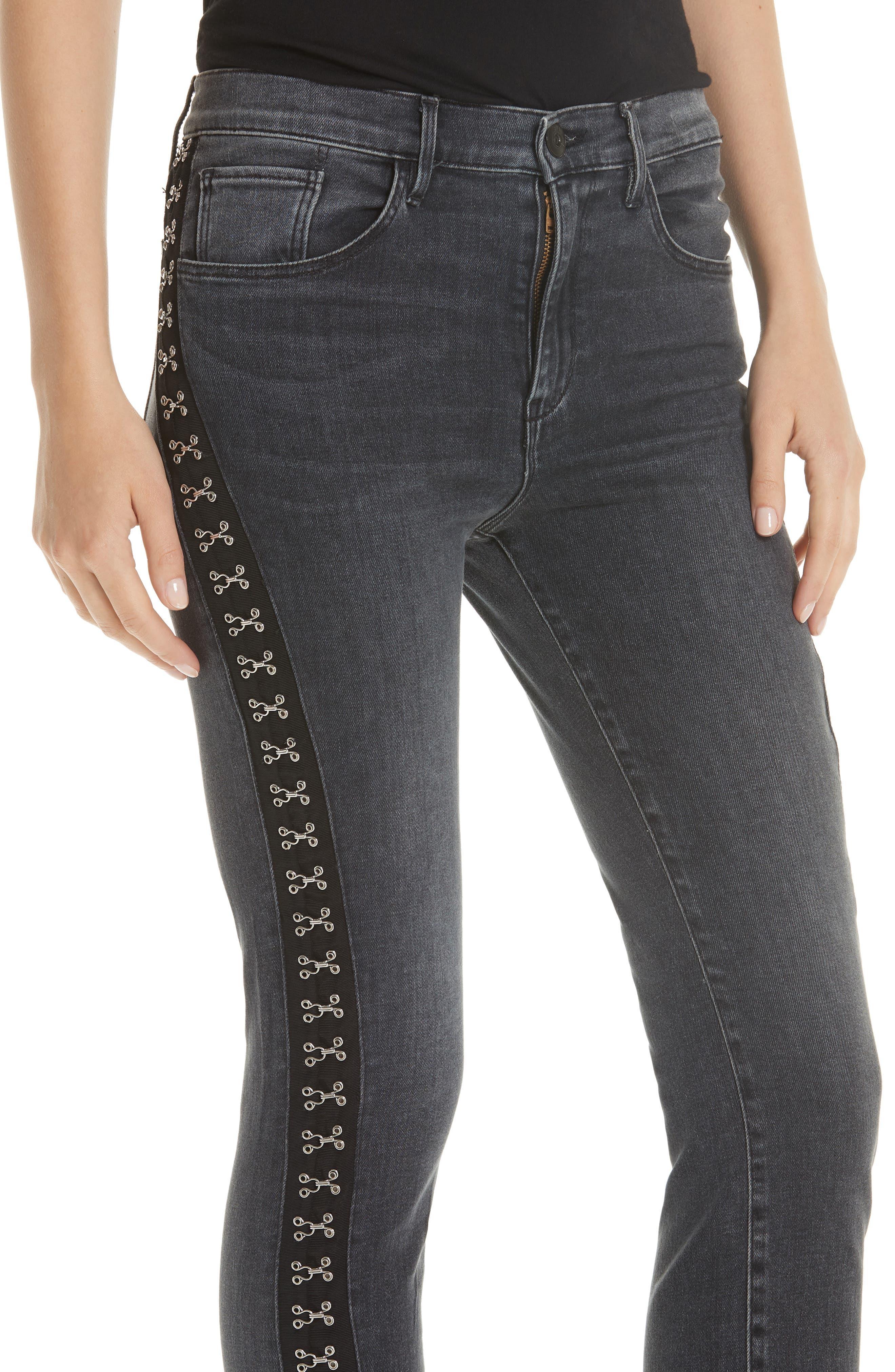 Corset Detail Ankle Skinny Jeans,                             Alternate thumbnail 4, color,                             EDDA