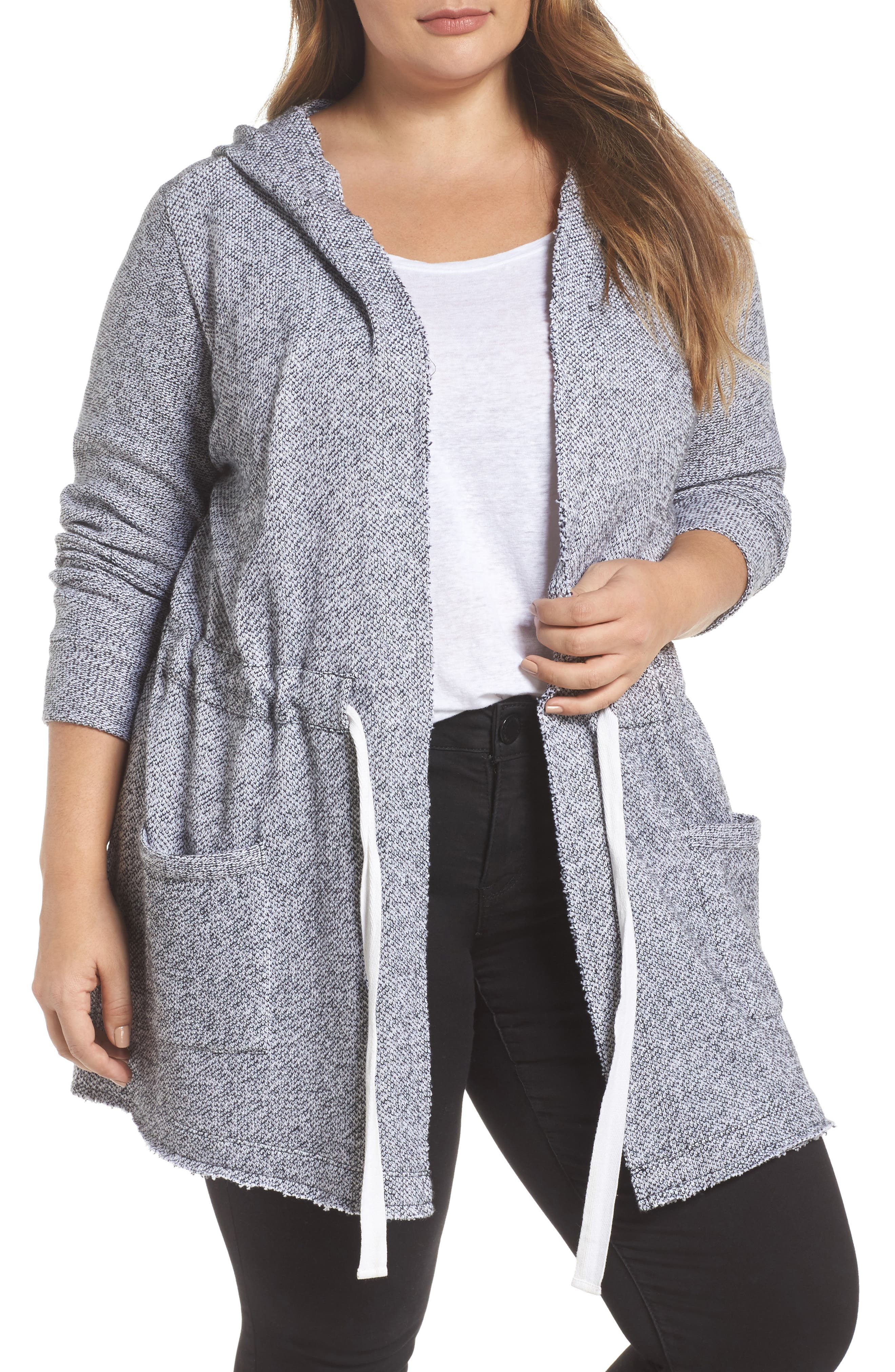 Tie Waist Knit Hooded Jacket,                             Main thumbnail 1, color,                             002