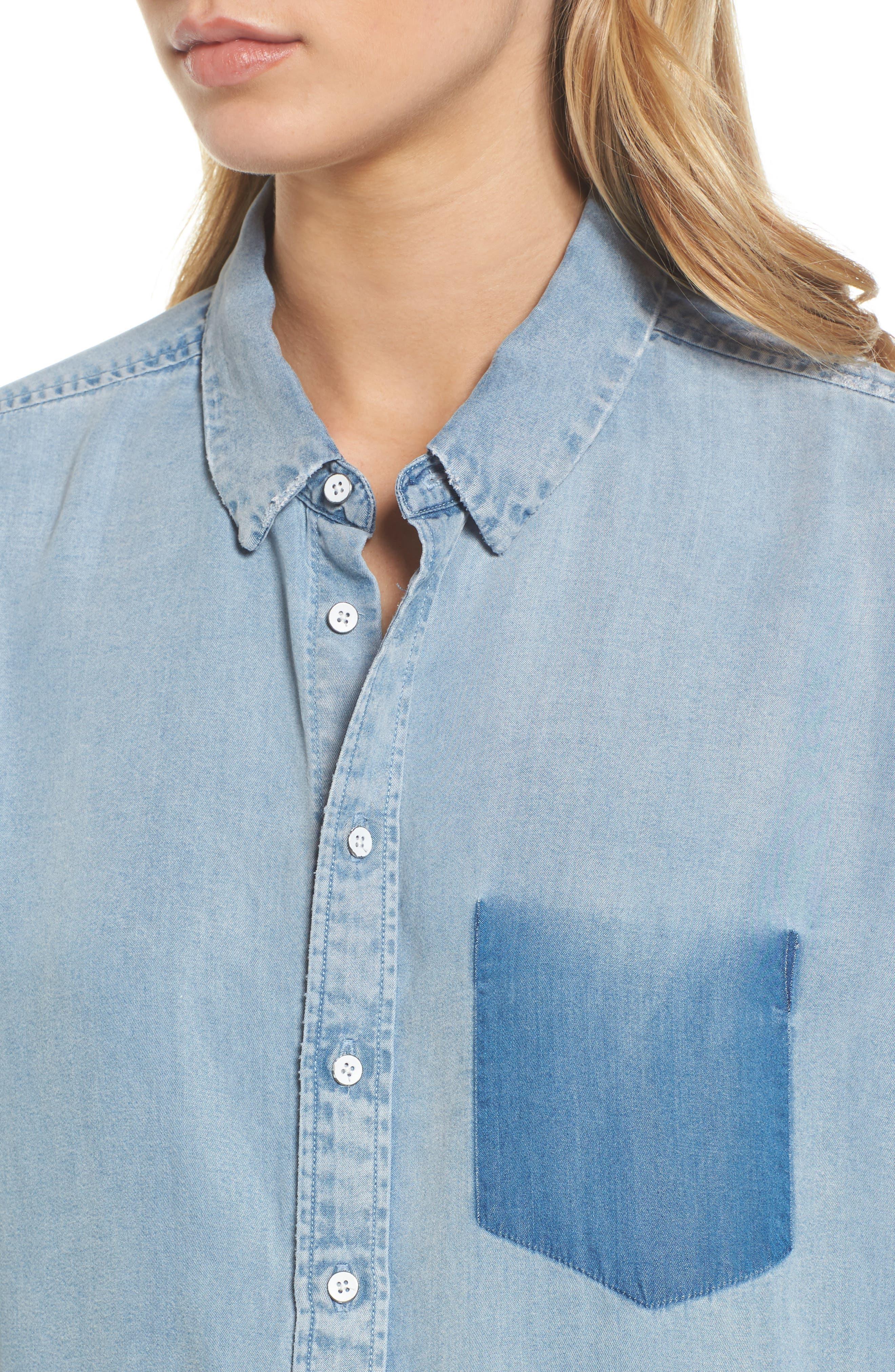 x The Blue Shirt Shop Nassau & Manhattan Boyfriend Shirt,                             Alternate thumbnail 4, color,