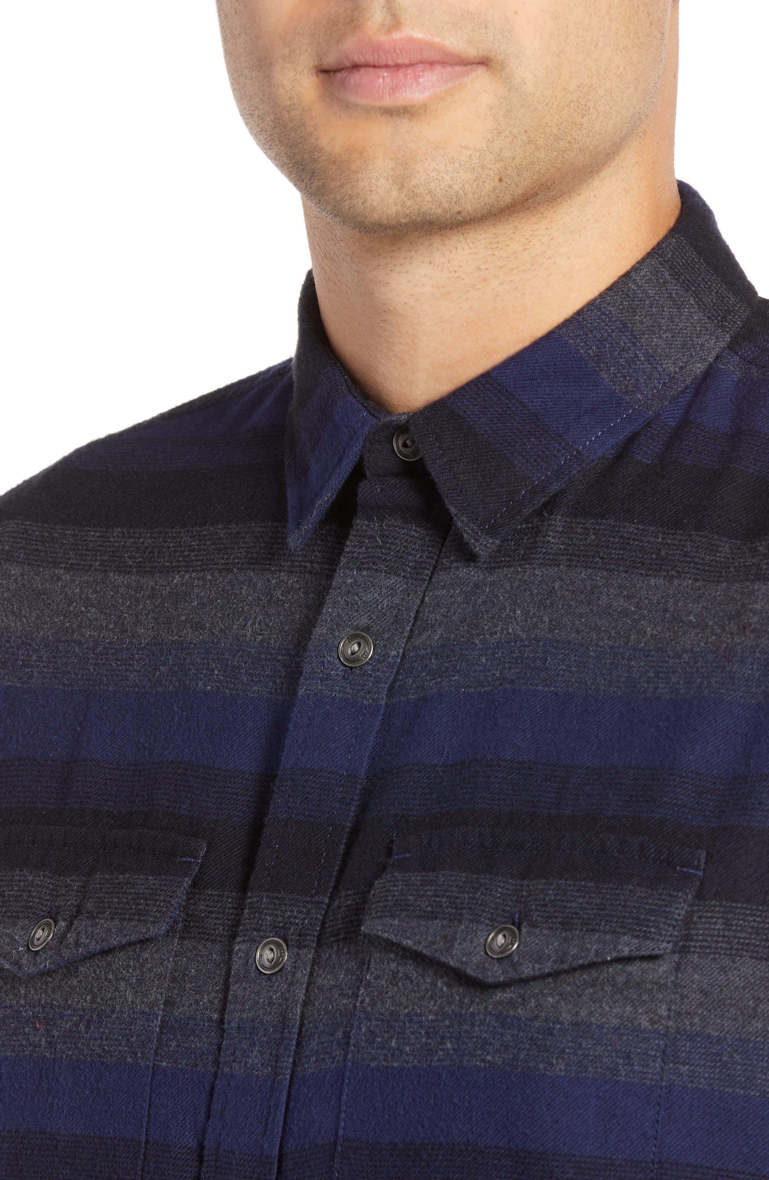 Regular Fit Ombré Sport Shirt,                             Alternate thumbnail 2, color,                             NAVY CHARCOAL OMBRE STRIPE