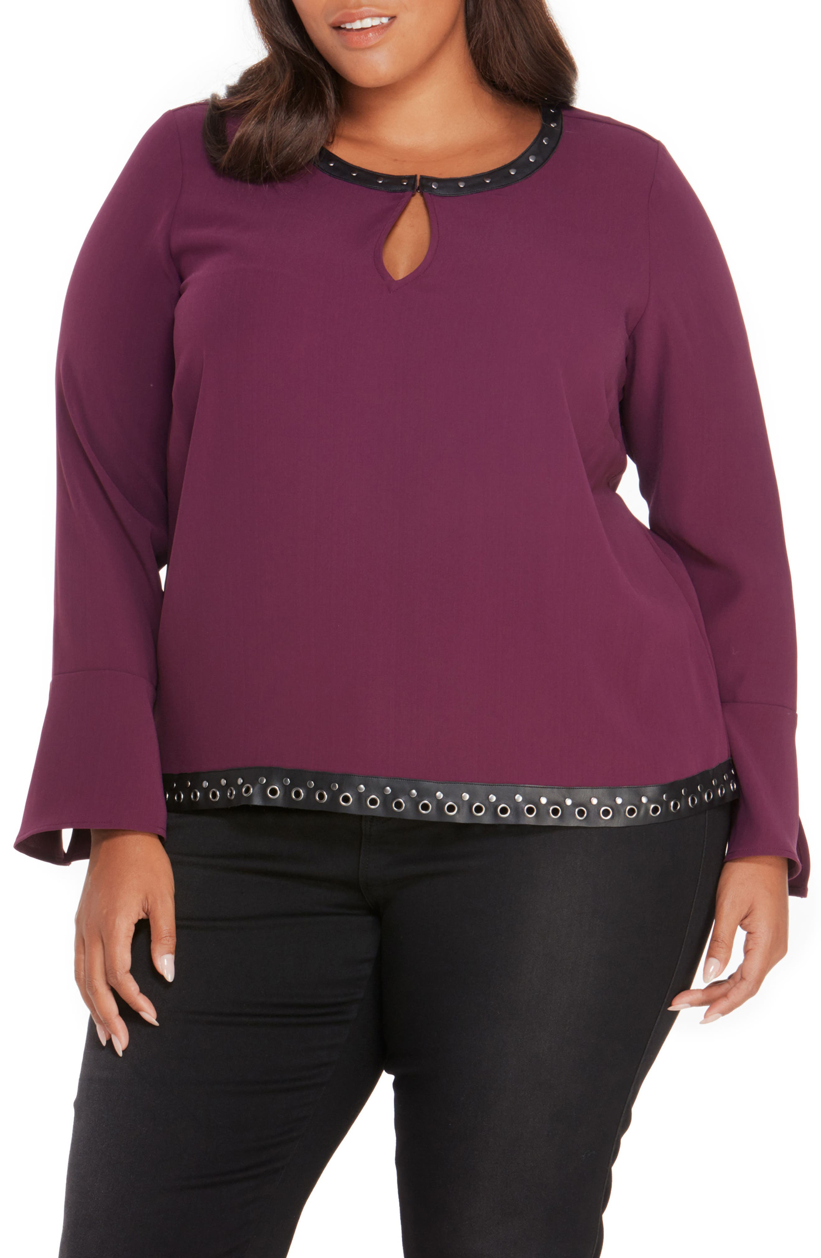 Studded Faux Leather Trim Top,                             Main thumbnail 3, color,