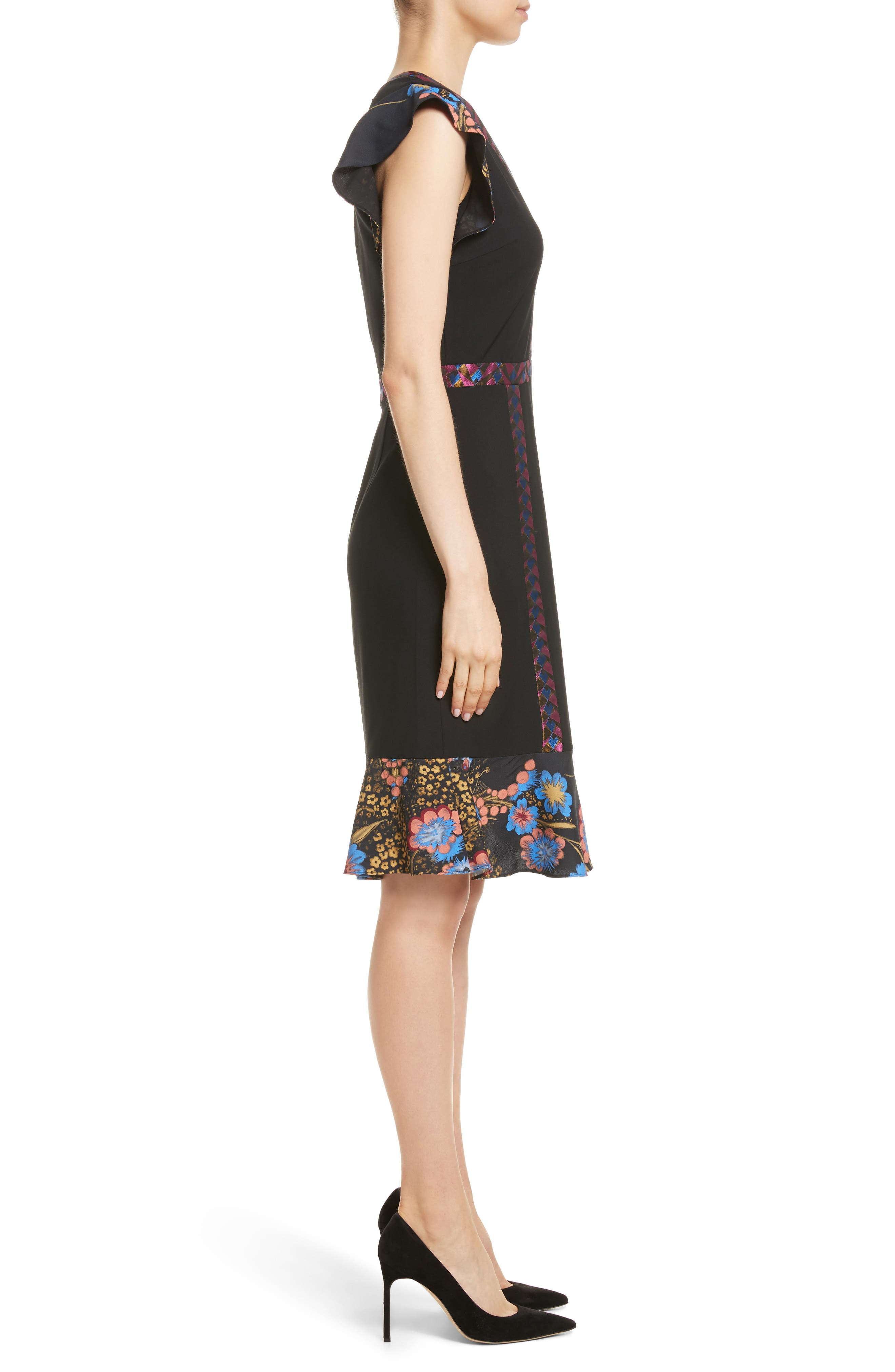 Flutter Sleeve Sheath Dress,                             Alternate thumbnail 3, color,                             001